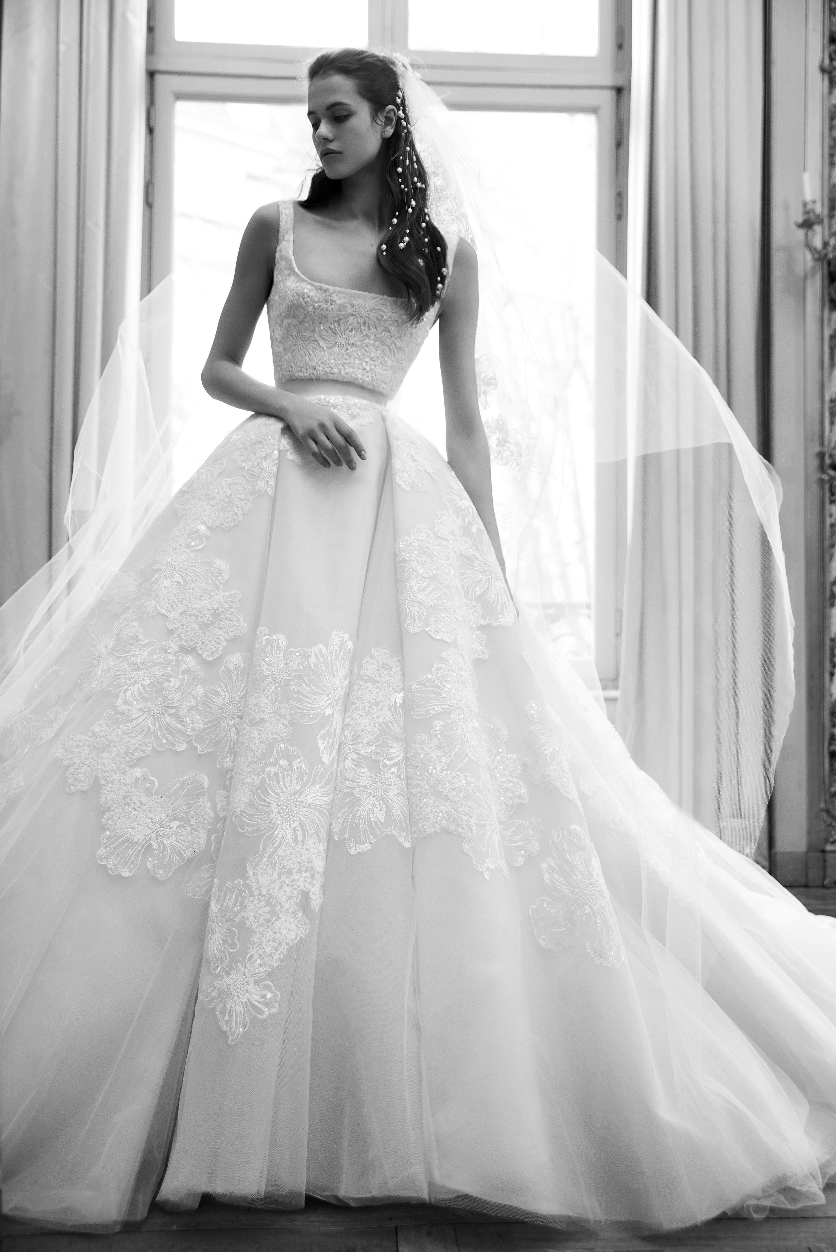 elie saab wedding dress spring 2019 floral embroidery ballgown sleeveless