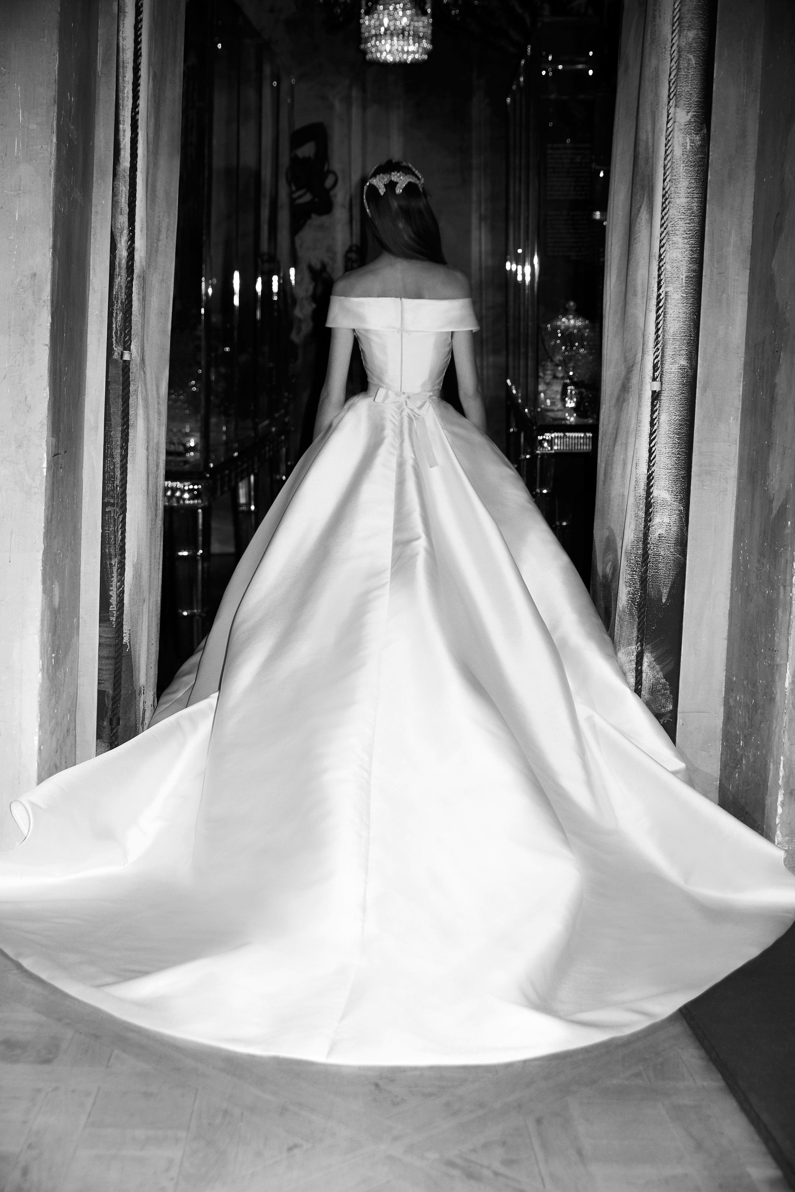 elie saab wedding dress spring 2019 off the shoulder satin back
