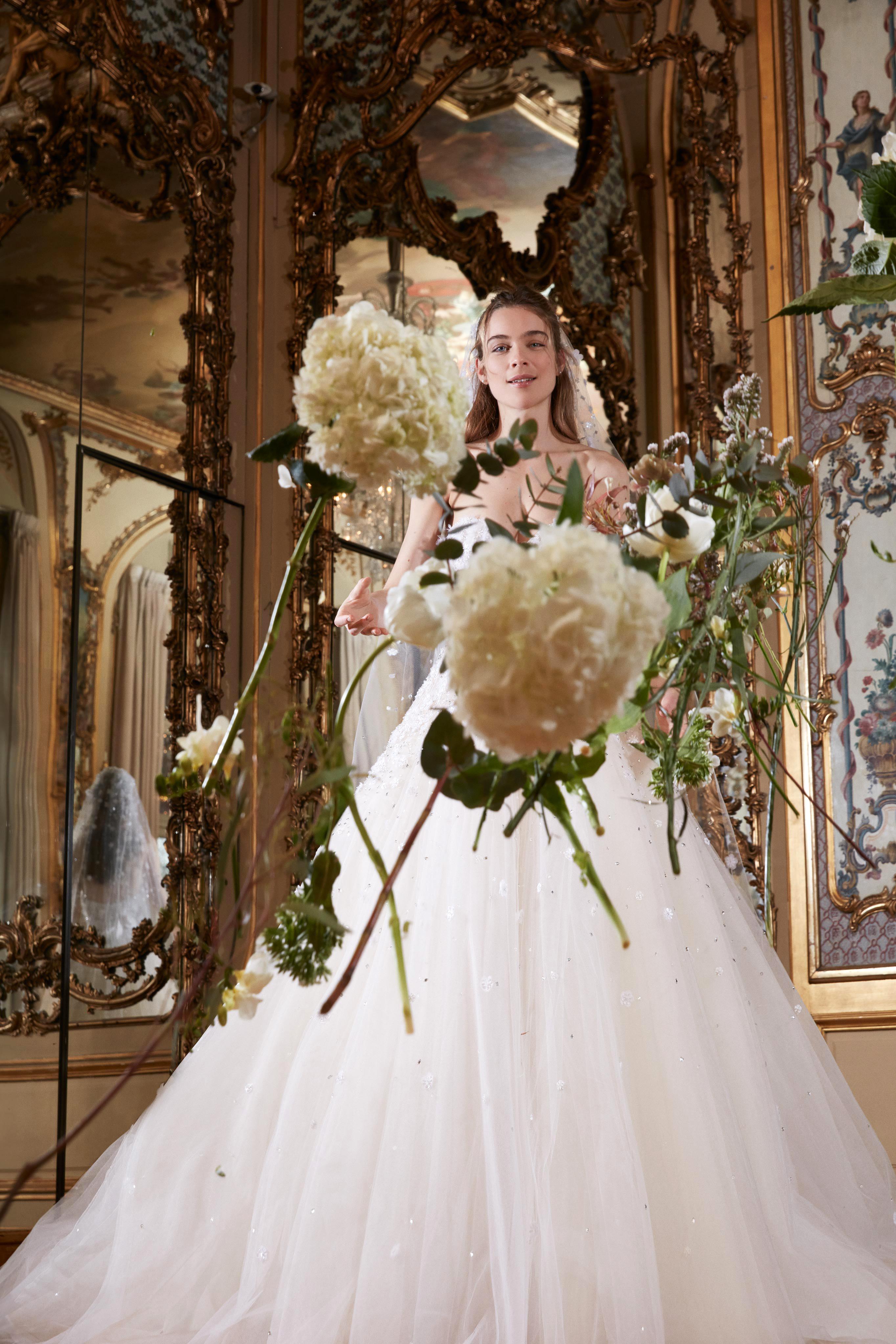 elie saab wedding dress spring 2019 strapless a-line flowers