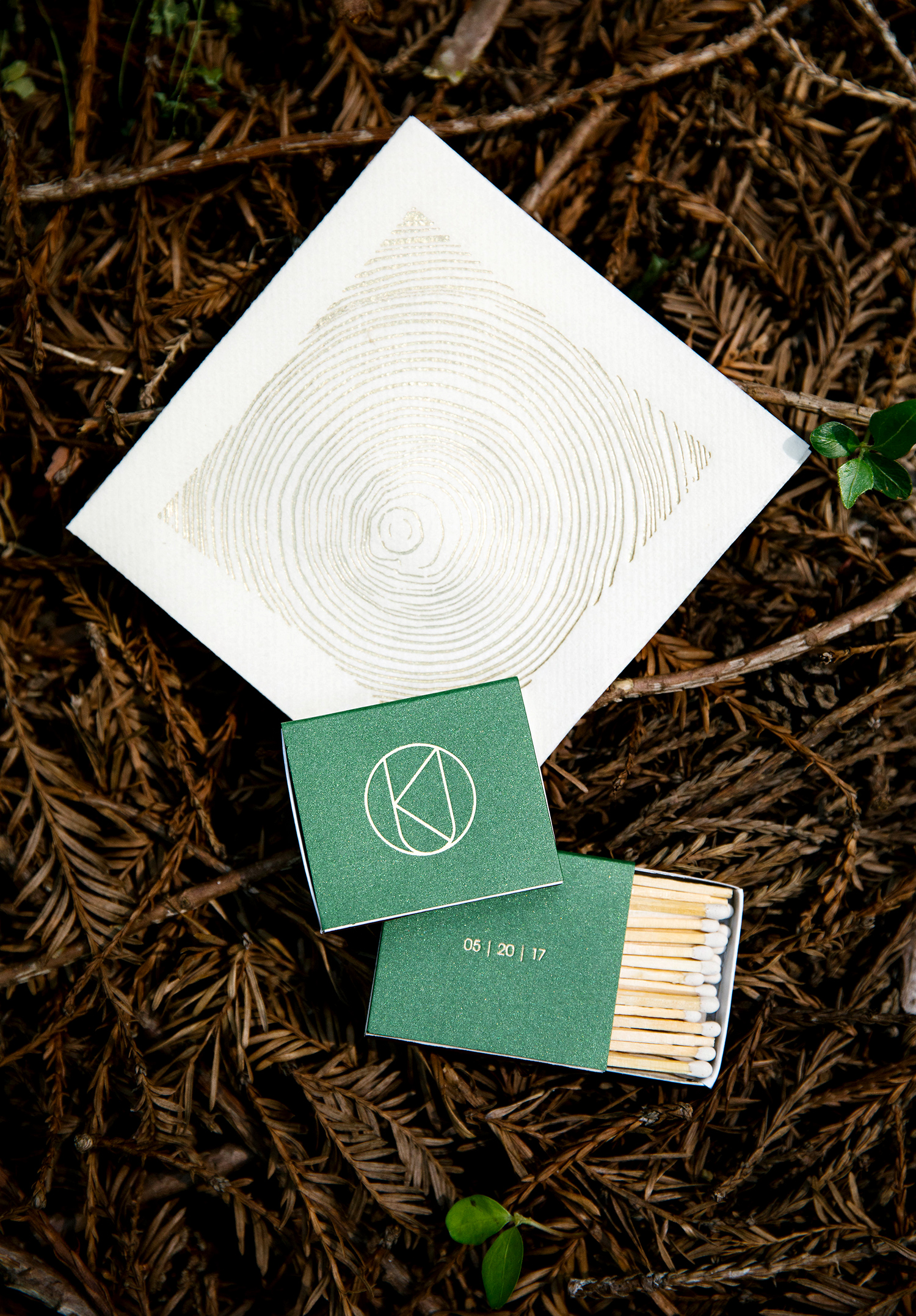 kendall jackson wedding matches and napkin