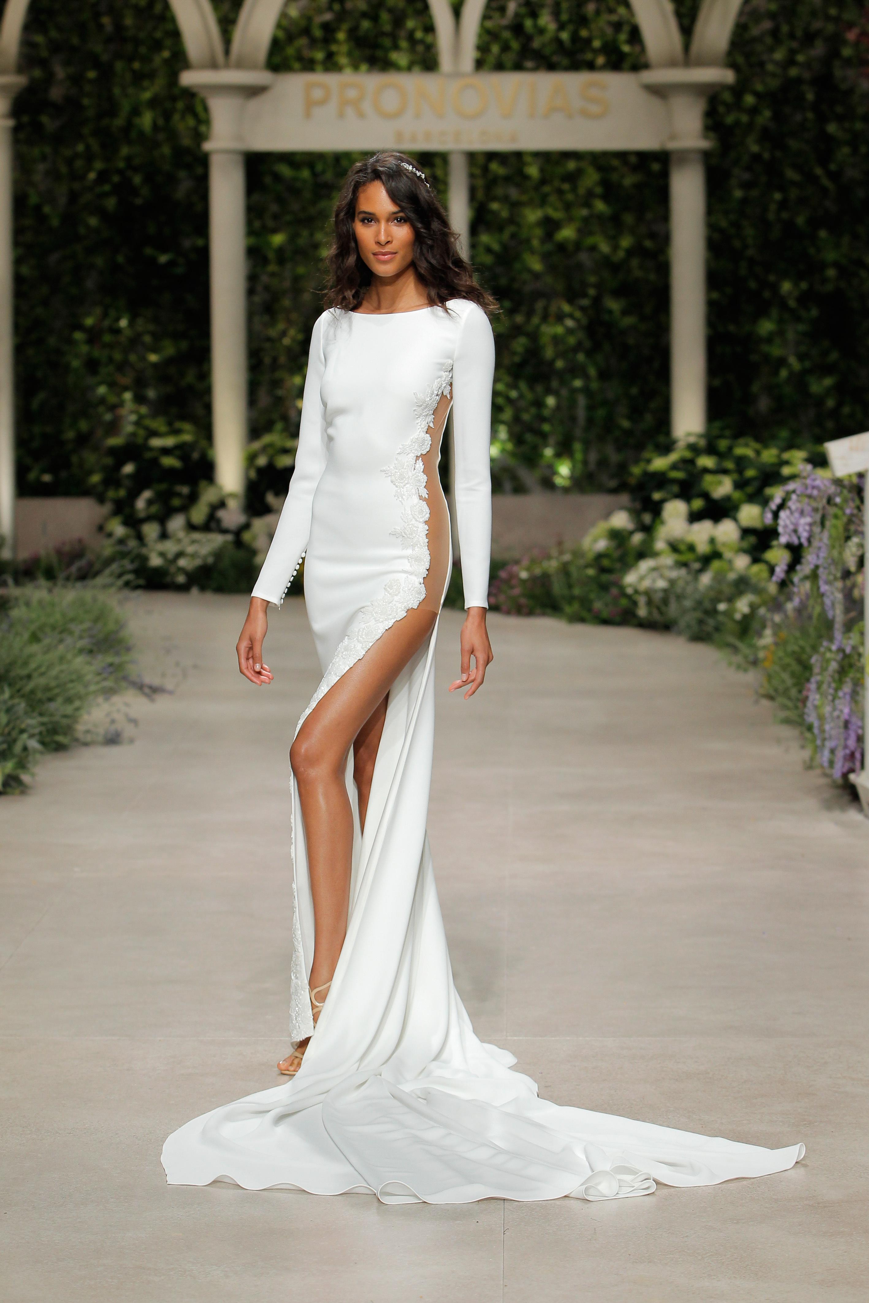 pronovias wedding dress spring 2019 side sheer long sleeve