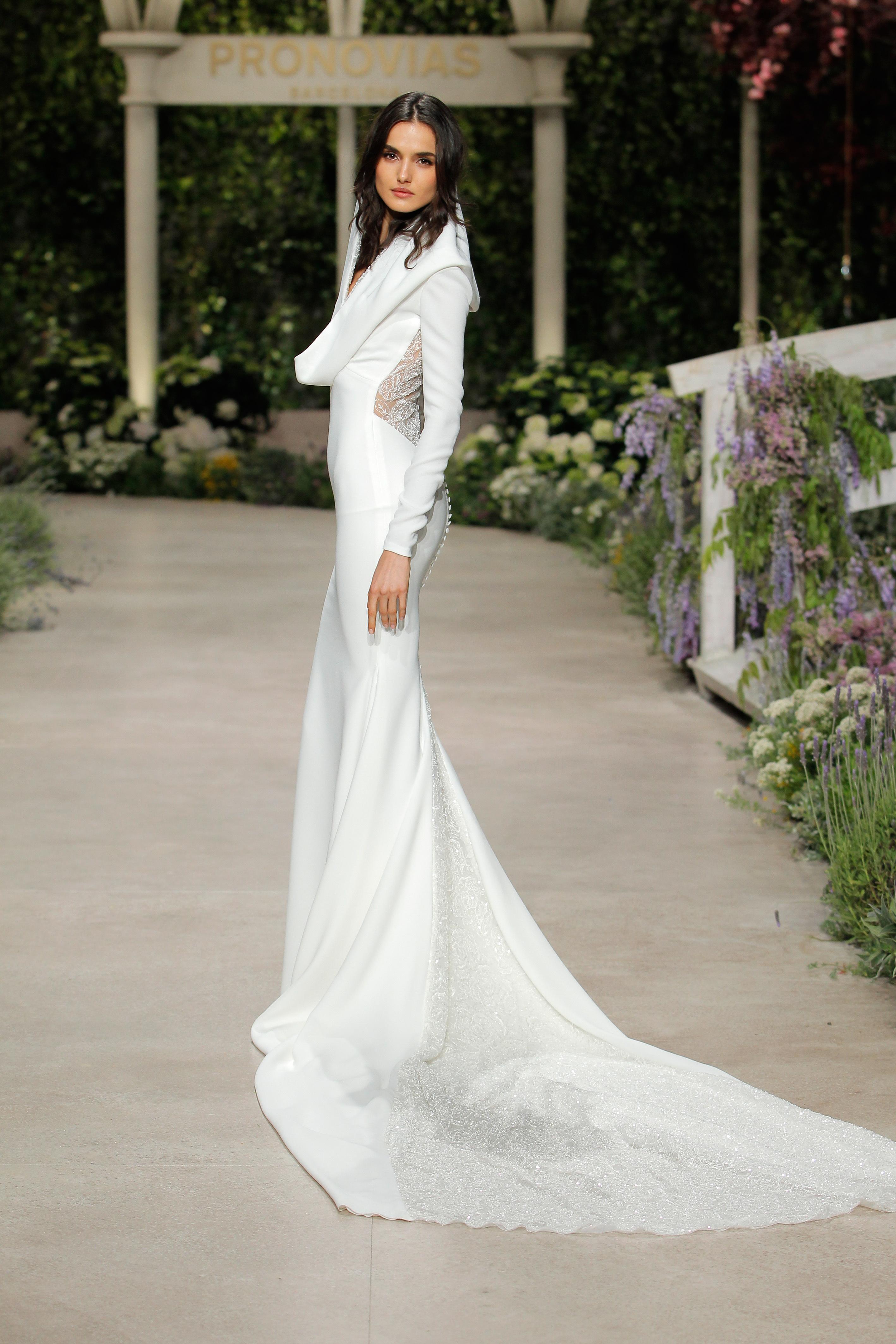 pronovias wedding dress spring 2019 sheath long sleeve