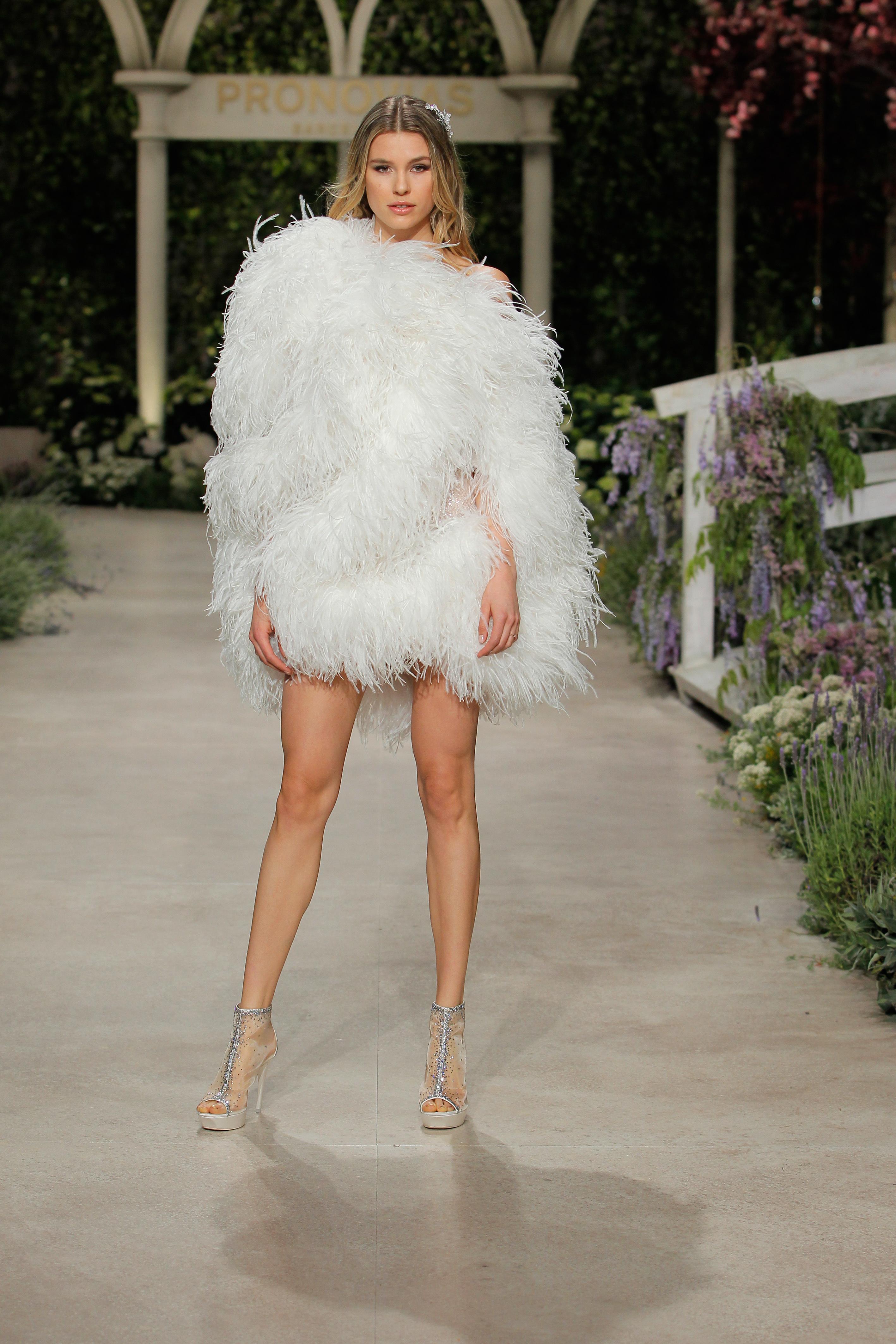pronovias wedding dress spring 2019 short feathers