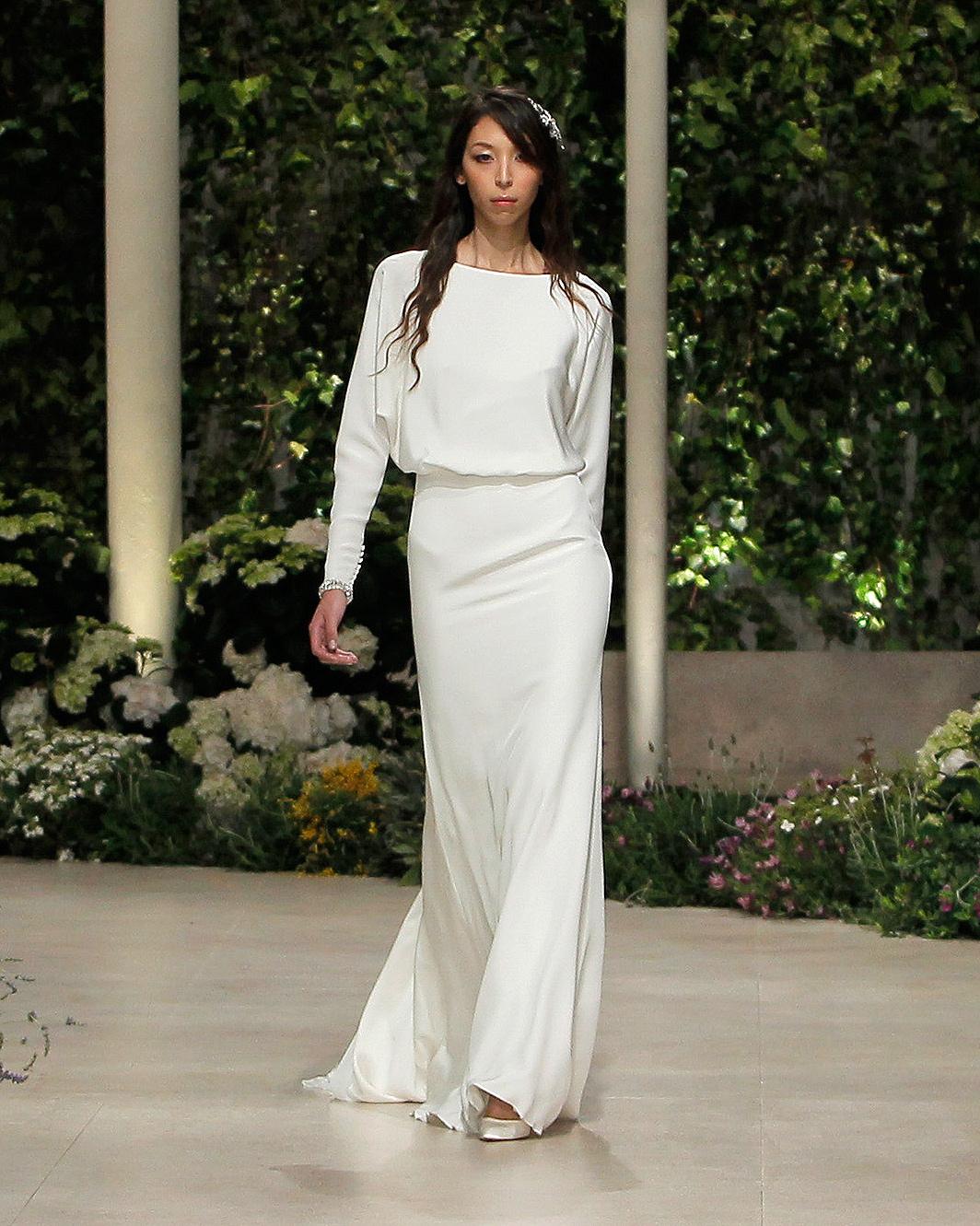 pronovias wedding dress spring 2019 long sleeve bateau neck