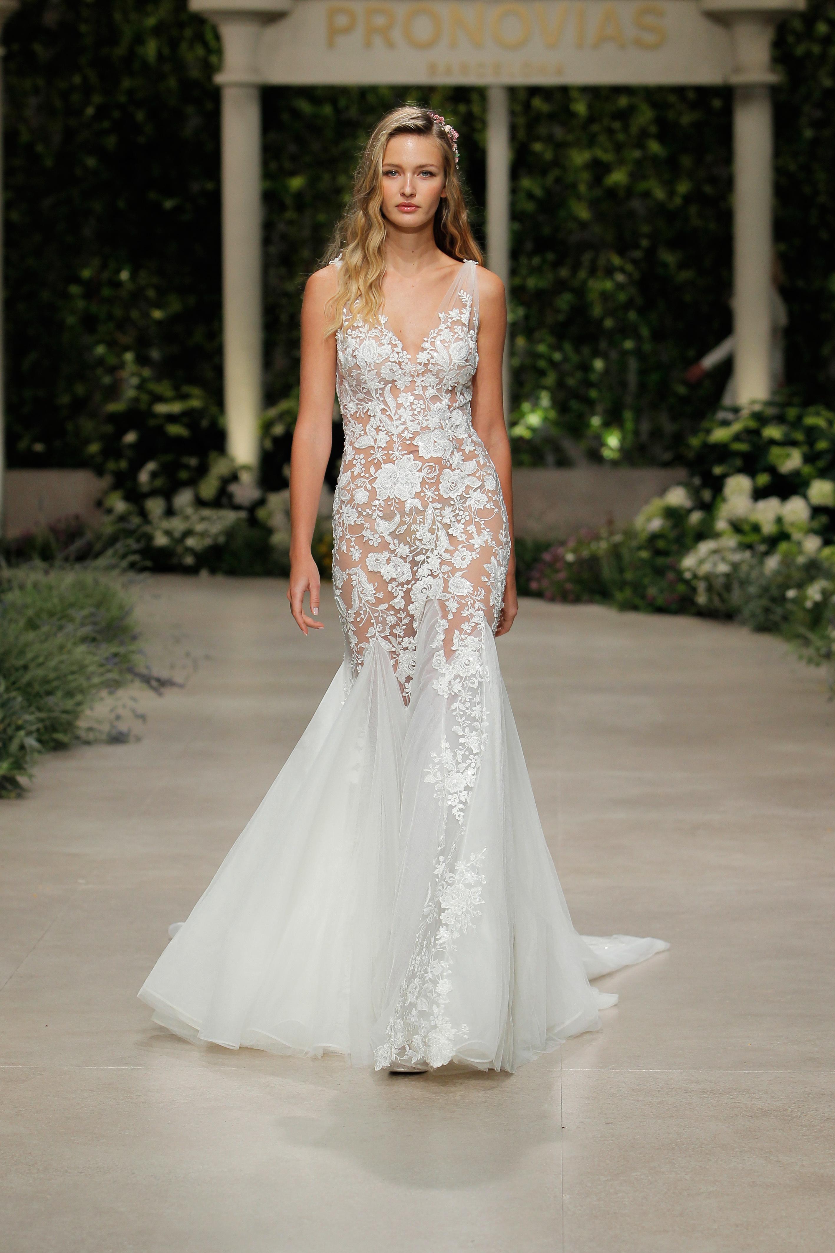 pronovias wedding dress spring 2019 sheer lace trumpet