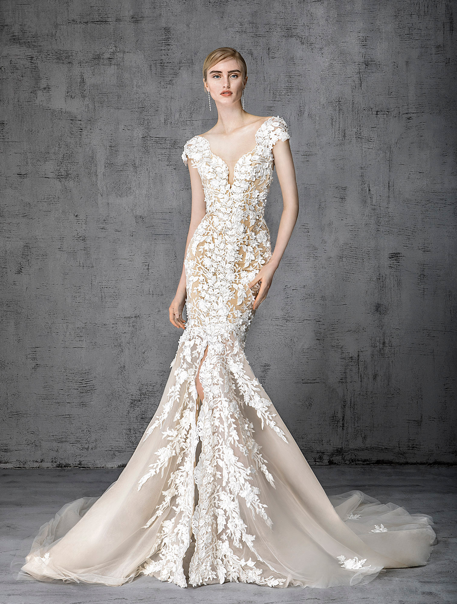 victoria kyriakides wedding dress spring 2019 champagne with white floral appliques