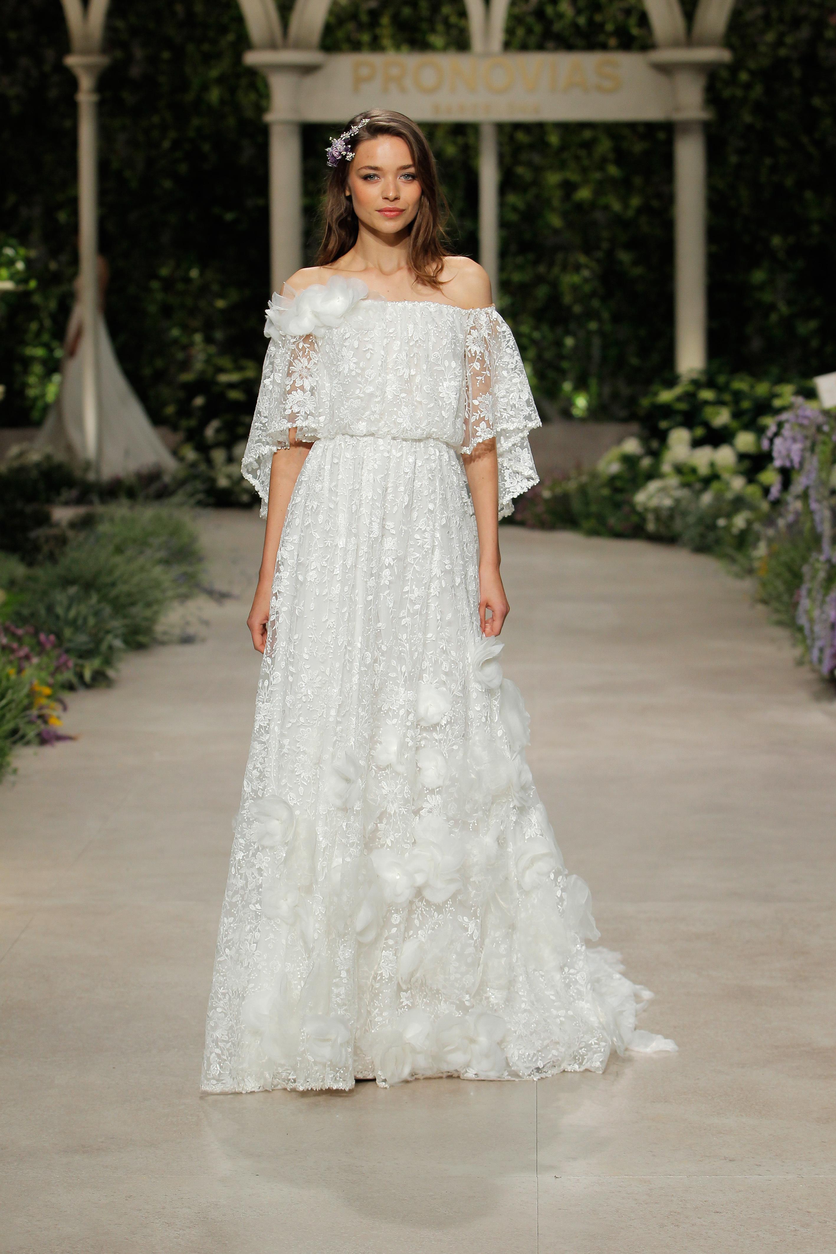 pronovias wedding dress spring 2019 lace off the shoulder