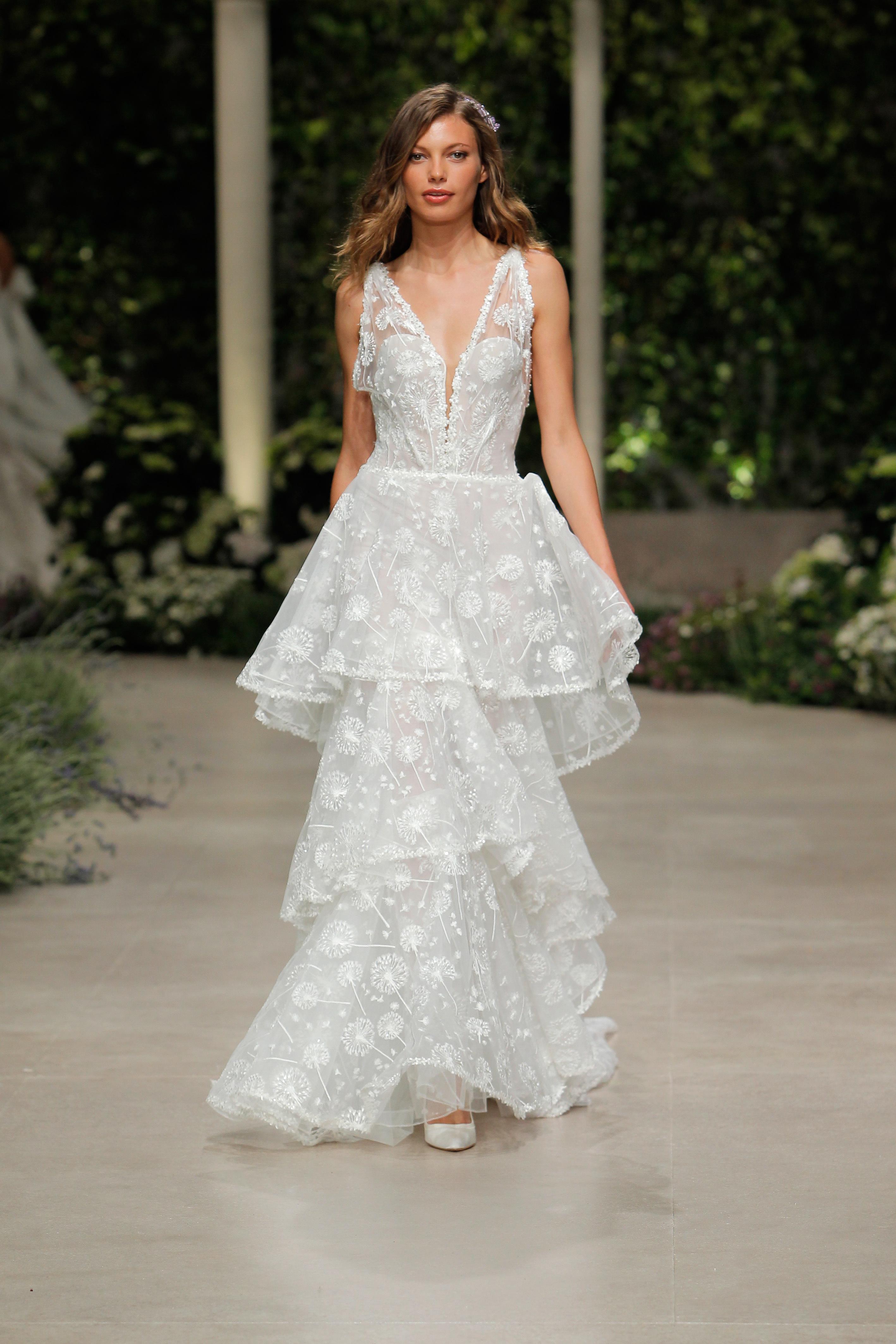 pronovias wedding dress spring 2019 tiered lace dress