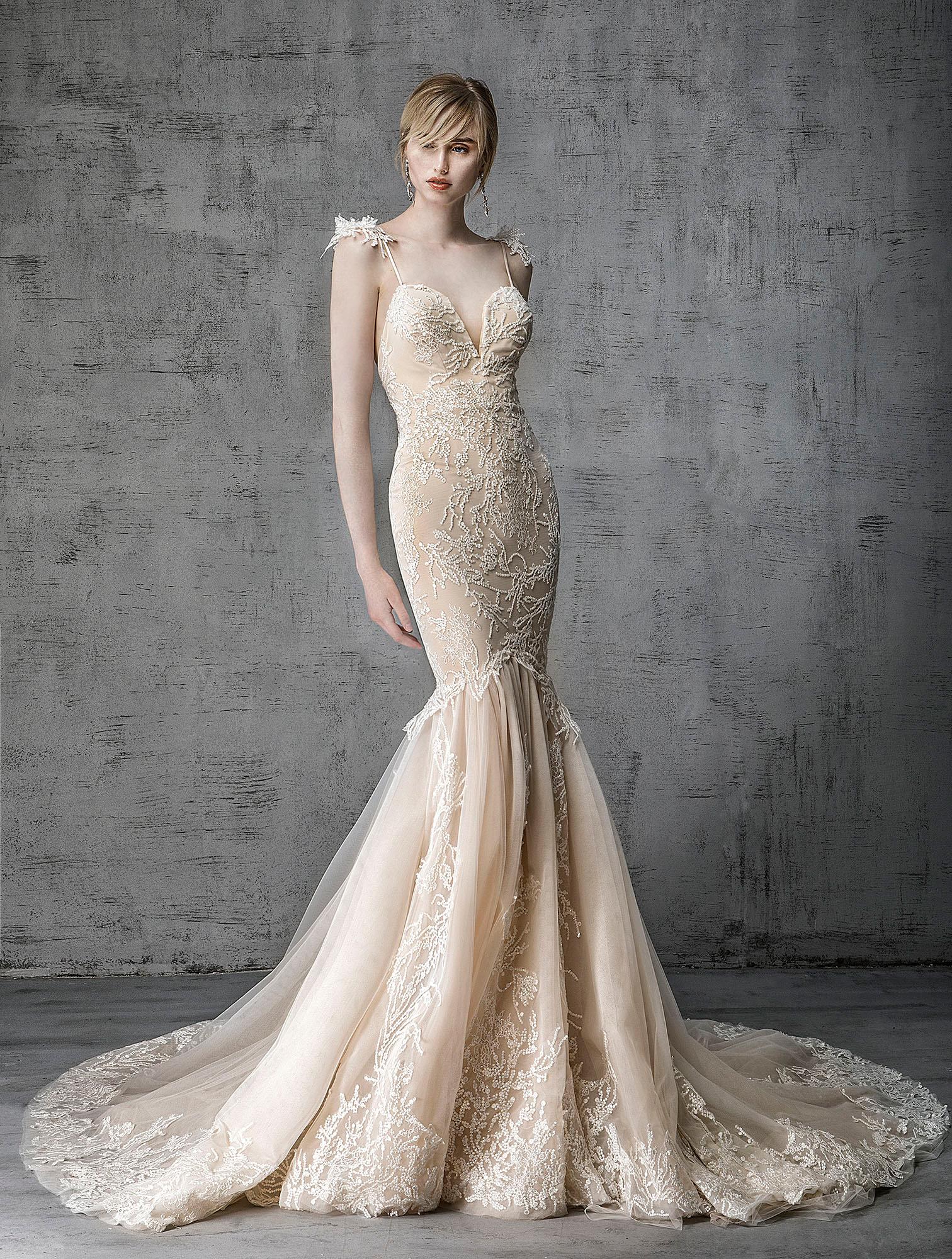 victoria kyriakides wedding dress spring 2019 champagne spaghetti-strap shoulder detail