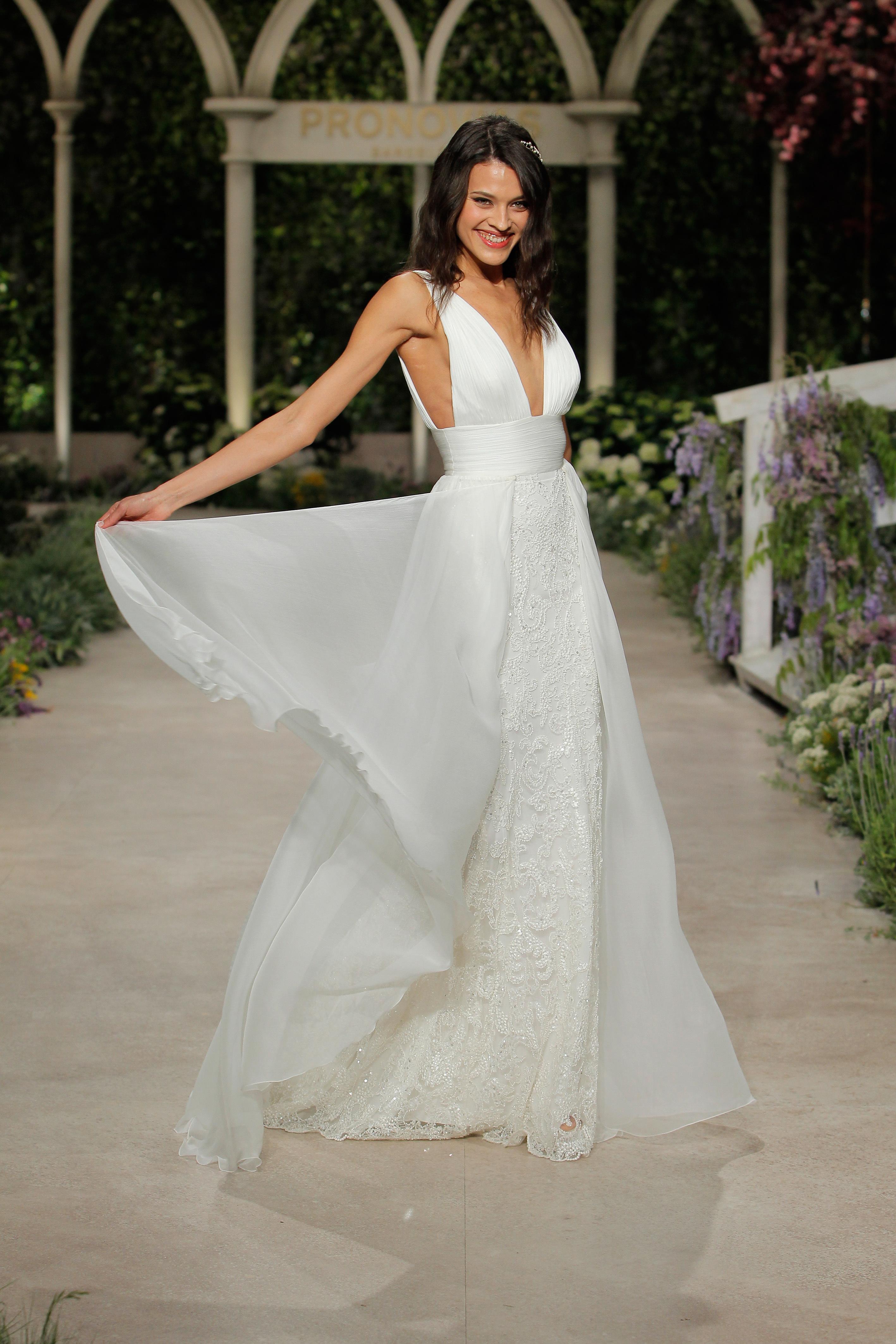 pronovias wedding dress spring 2019 lace layered v-neck