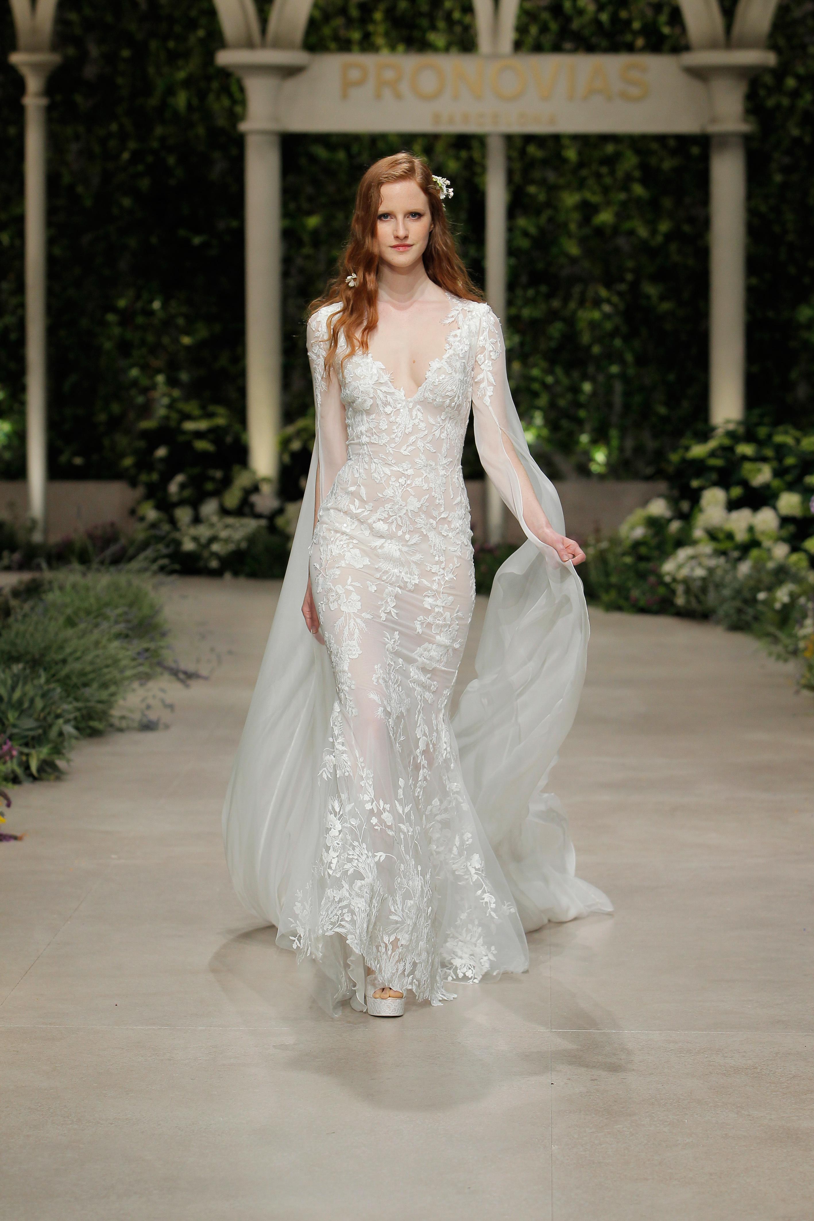 pronovias wedding dress spring 2019 embroidered v-neck