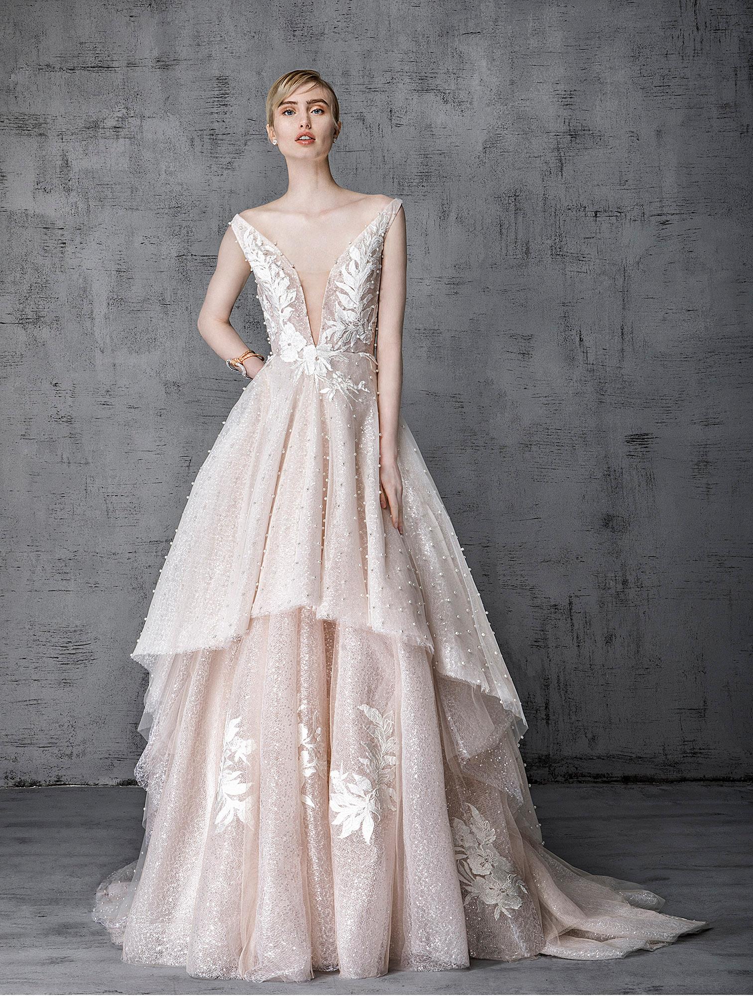 victoria kyriakides wedding dress spring 2019 blush plunging neck tiered skirt