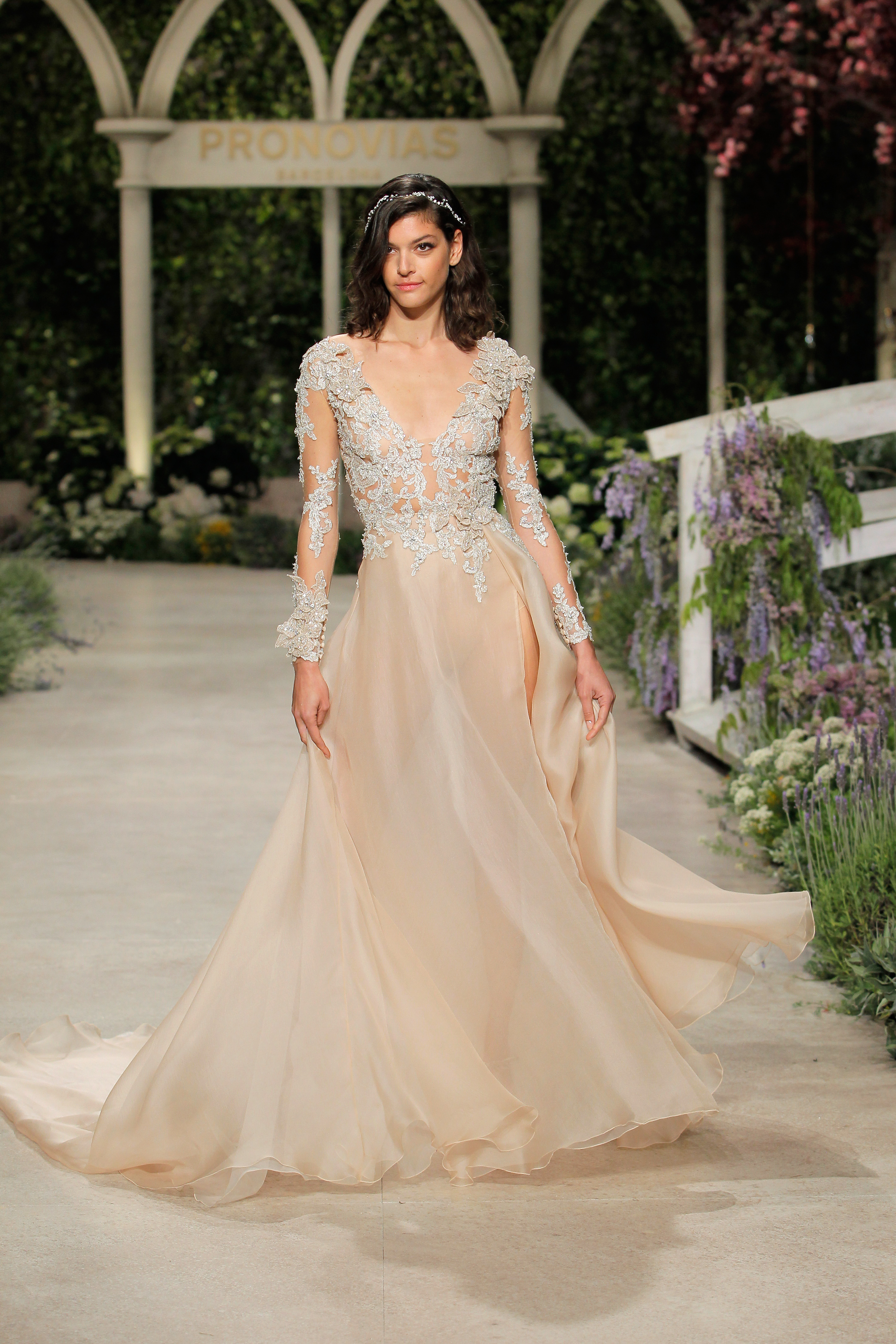 pronovias wedding dress spring 2019 peach embroidered long sleeve