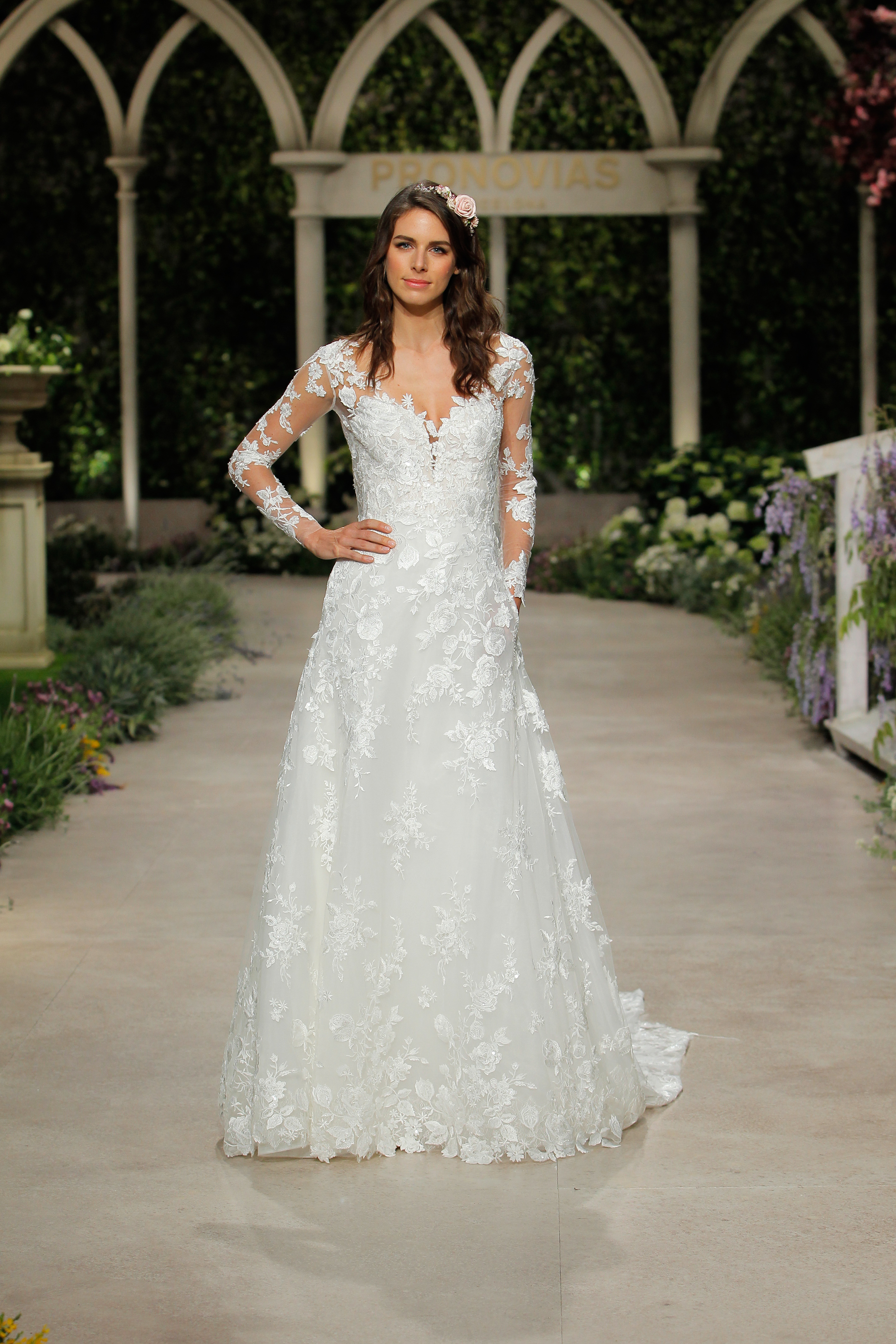 pronovias wedding dress spring 2019 long sleeve embroidered