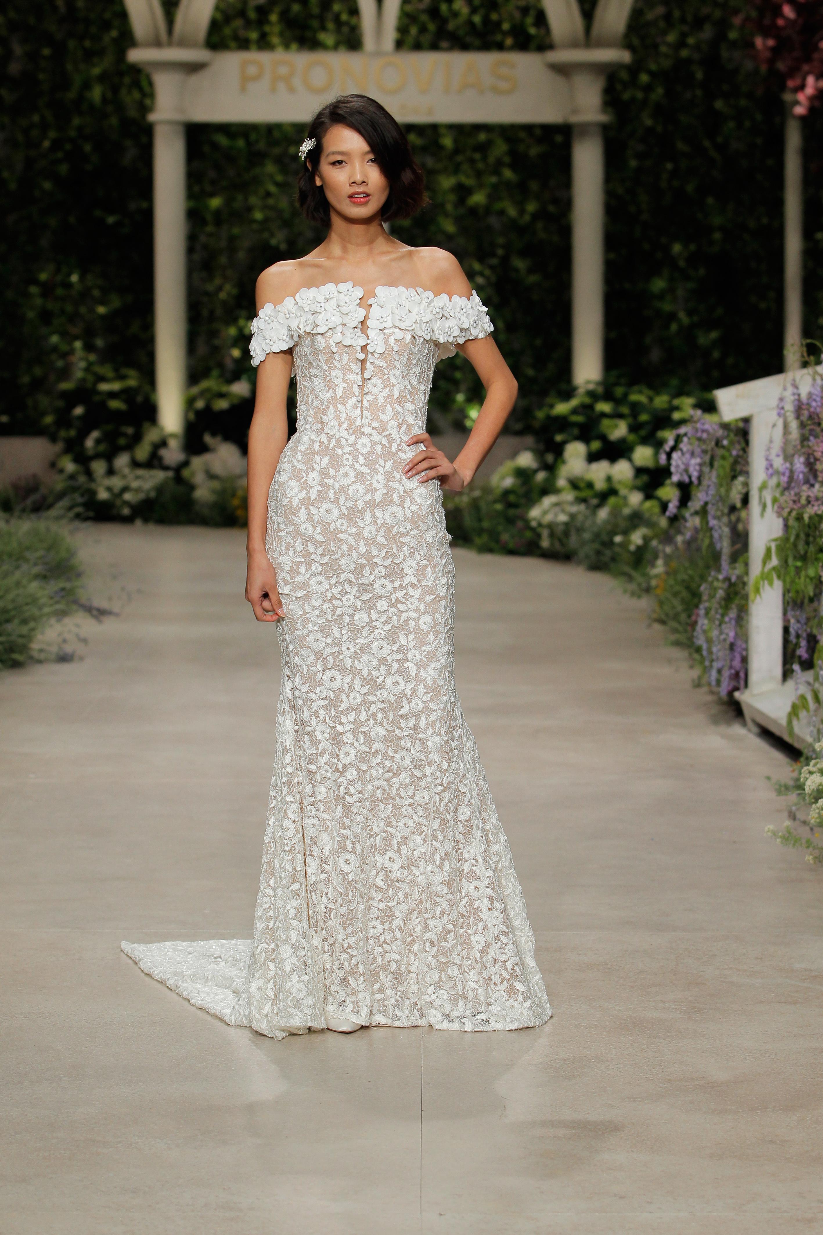 pronovias wedding dress spring 2019 off-the-shoulder