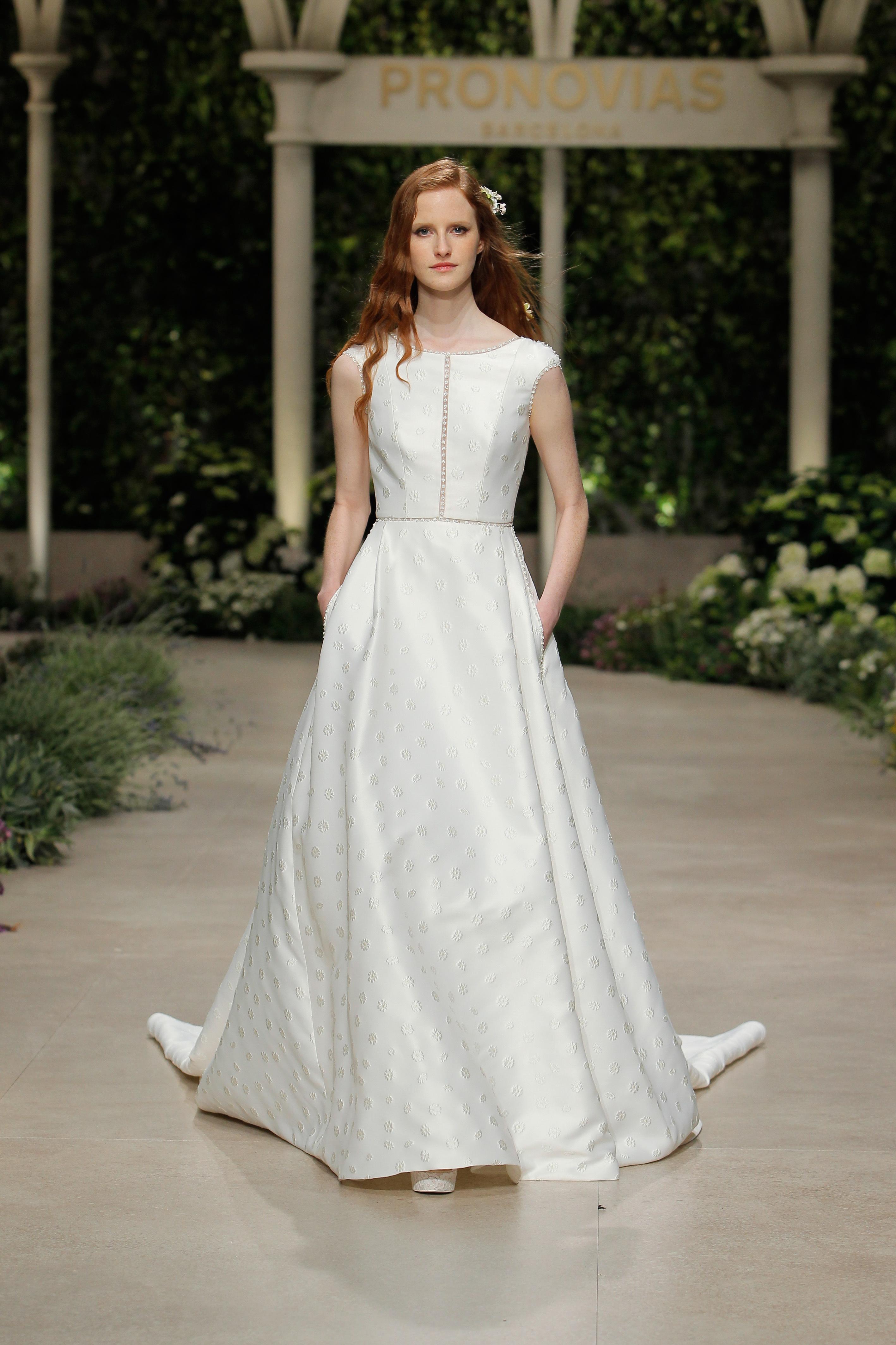 pronovias wedding dress spring 2019 bateau cap sleeve