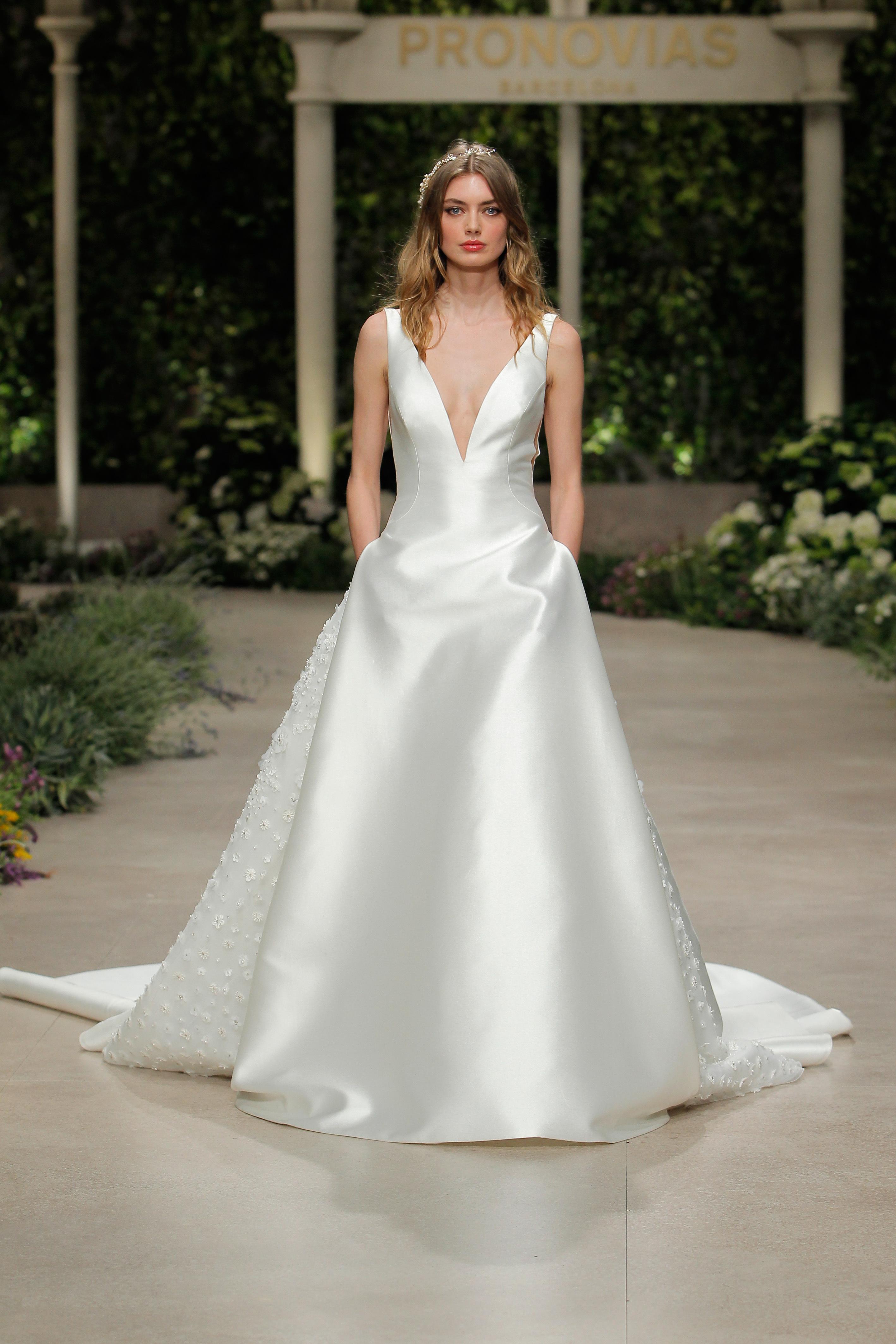 pronovias wedding dress spring 2019 v-neck satin