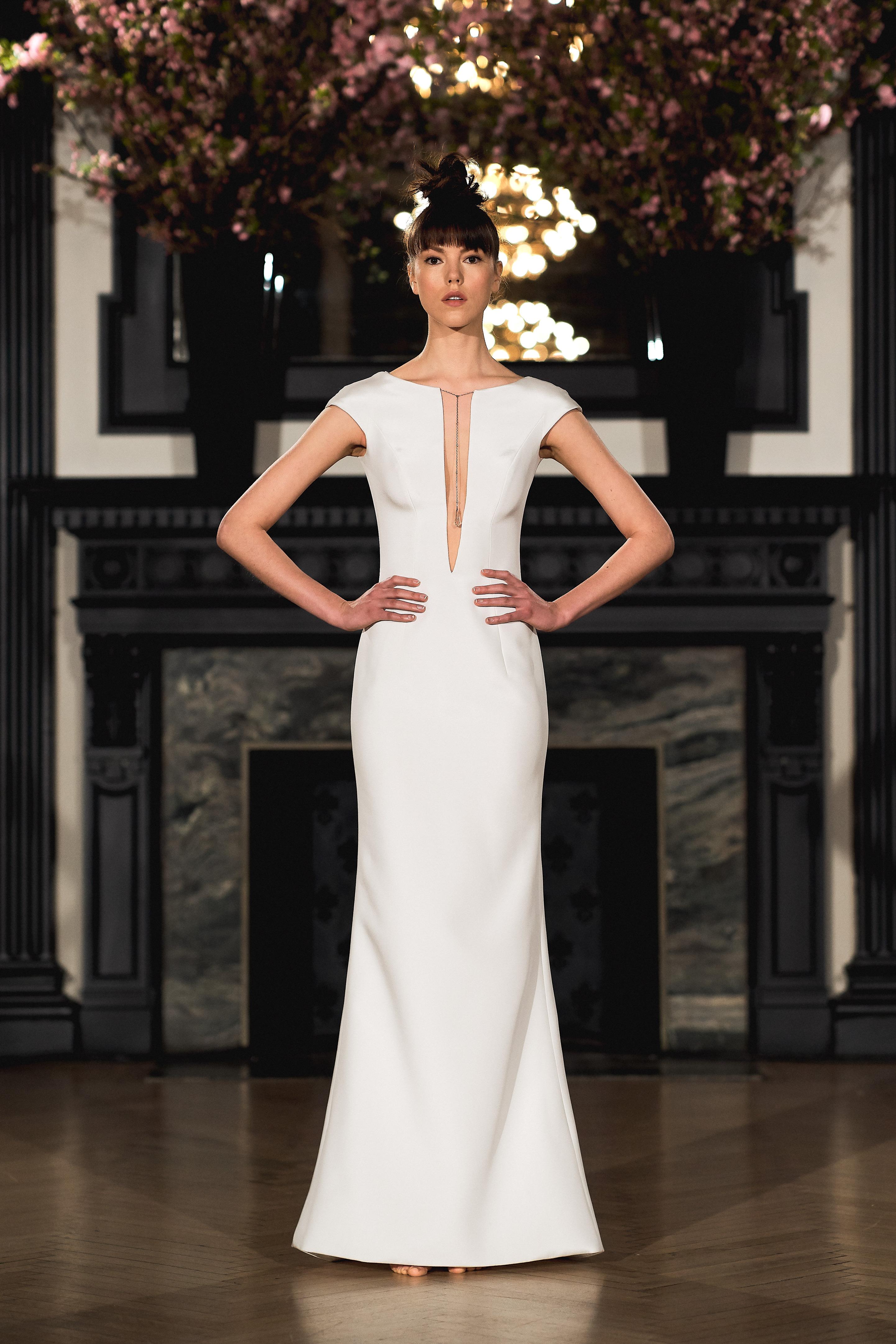 ines di santo wedding dress spring 2019 sheath cap sleeve