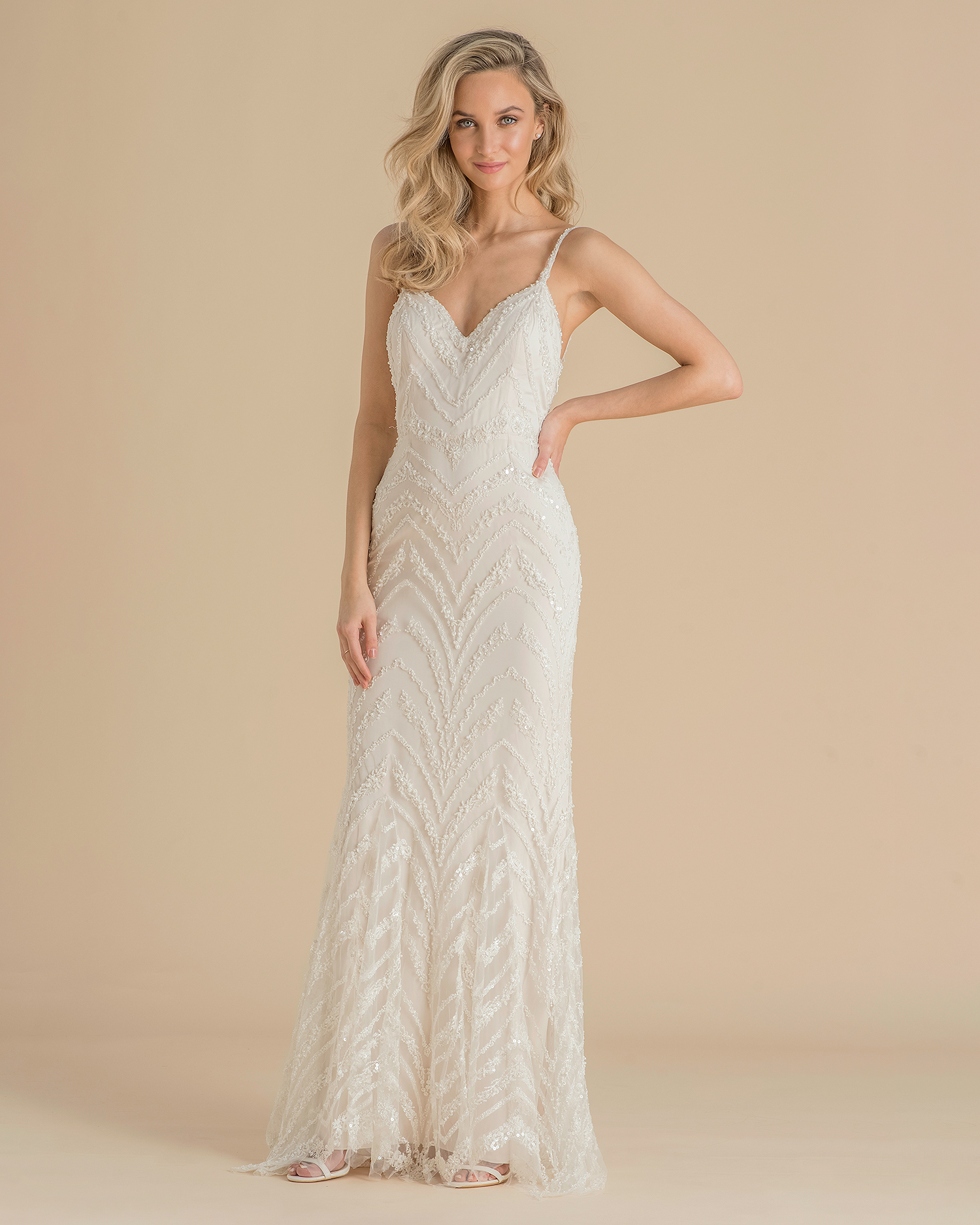 catherine deane wedding dress spring 2019 spaghetti-strap with beadwork