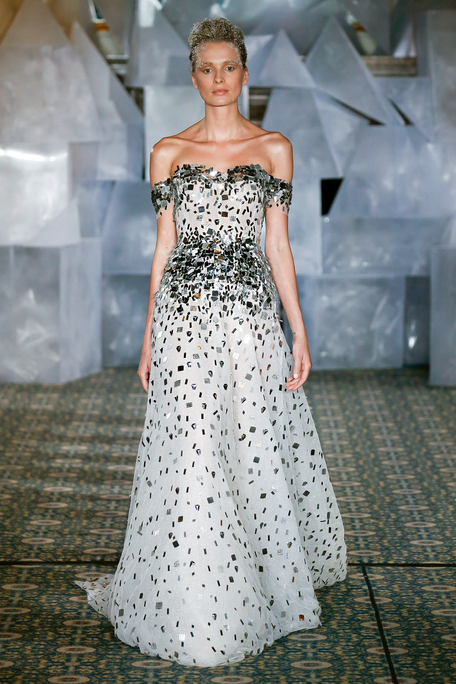 mira zwillinger wedding dress spring 2019 off-the-shoulder silver accents