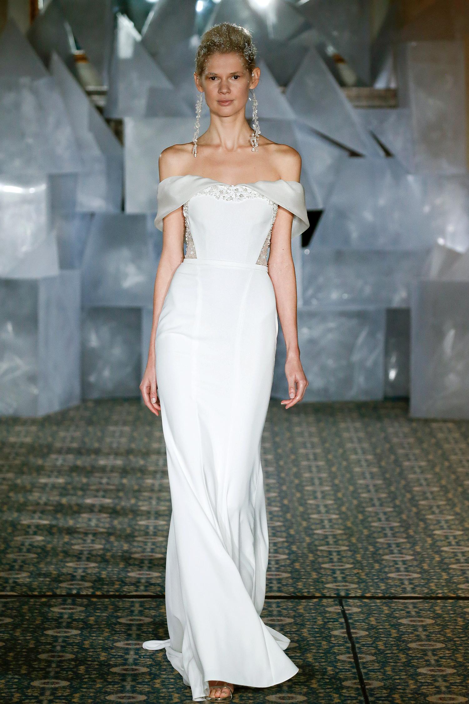 mira zwillinger wedding dress spring 2019 off-the-shoulder cutout sheath