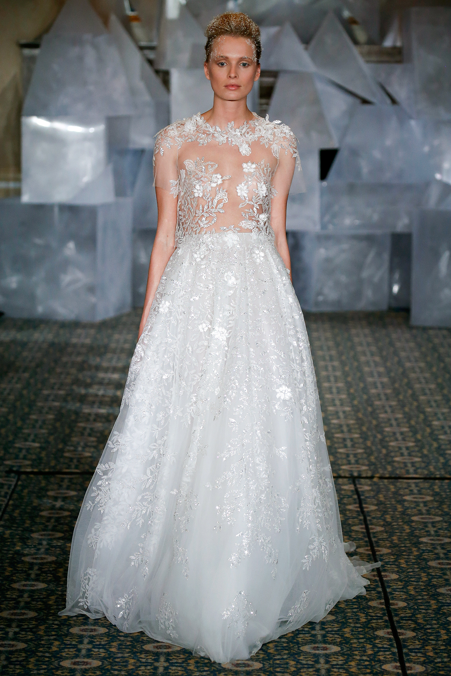 mira zwillinger wedding dress spring 2019 sheer embroidered top a-line