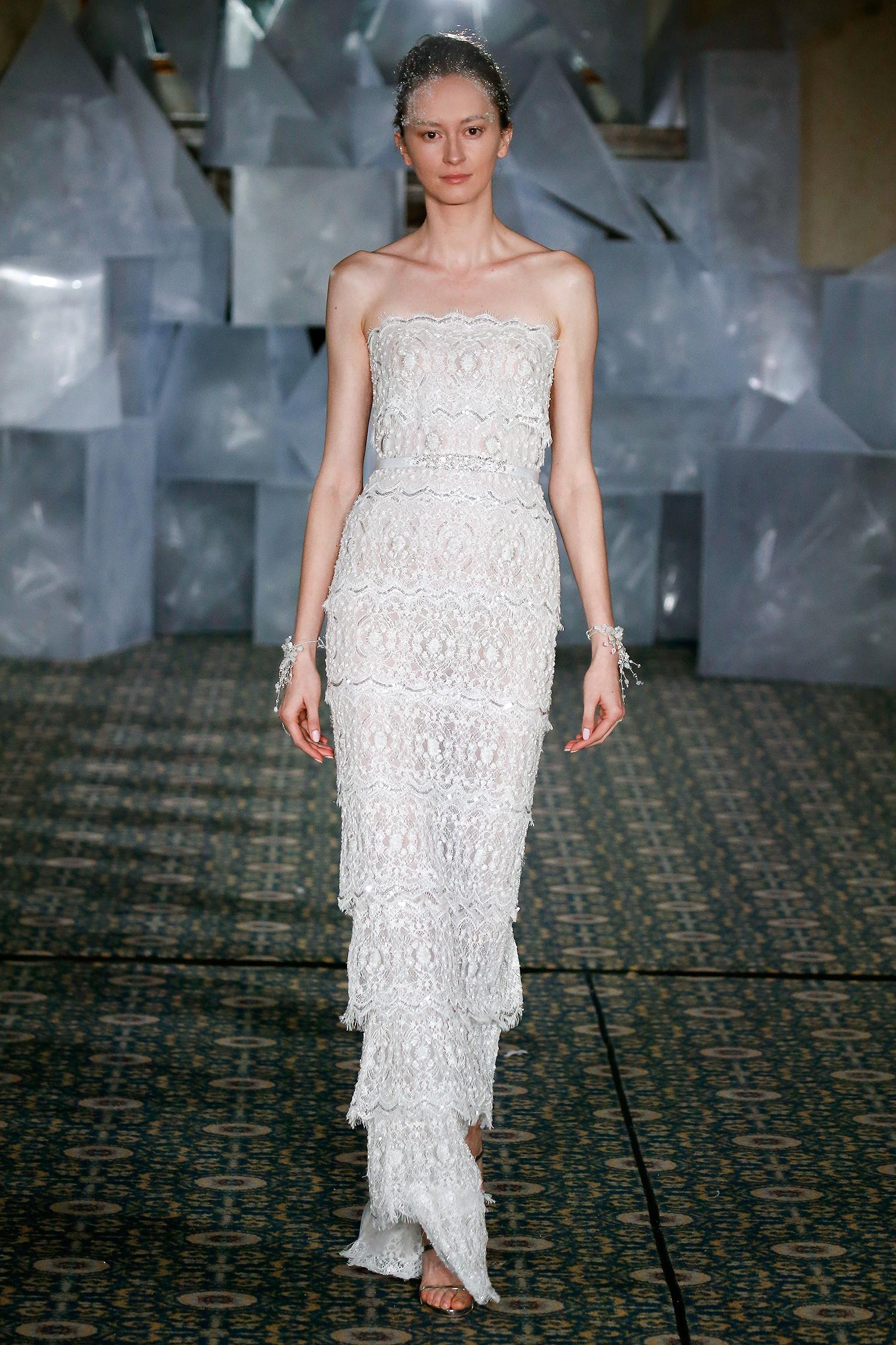 mira zwillinger wedding dress spring 2019 strapless tiered sheath