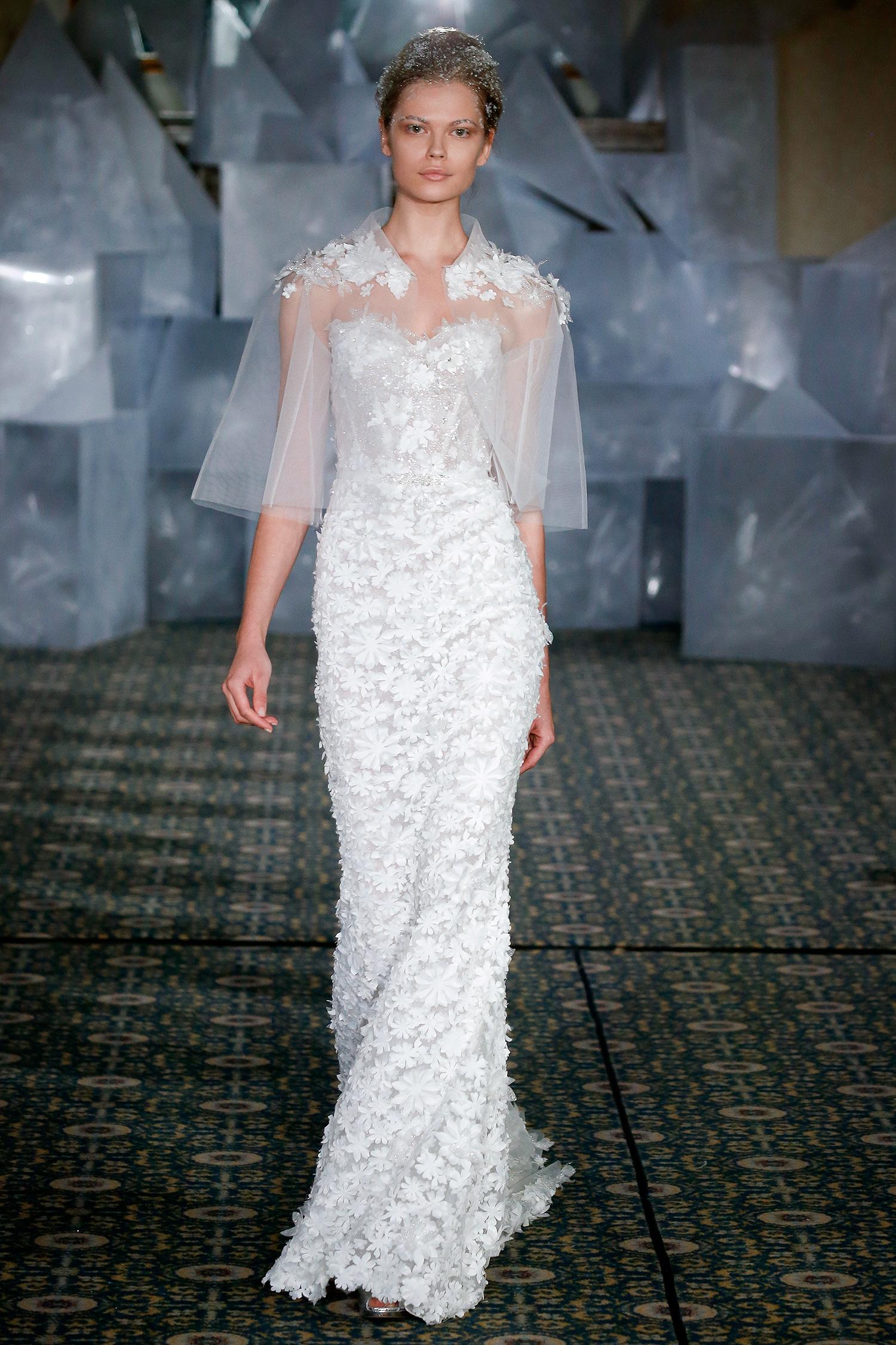 mira zwillinger wedding dress spring 2019 applique sweetheart sheer cape