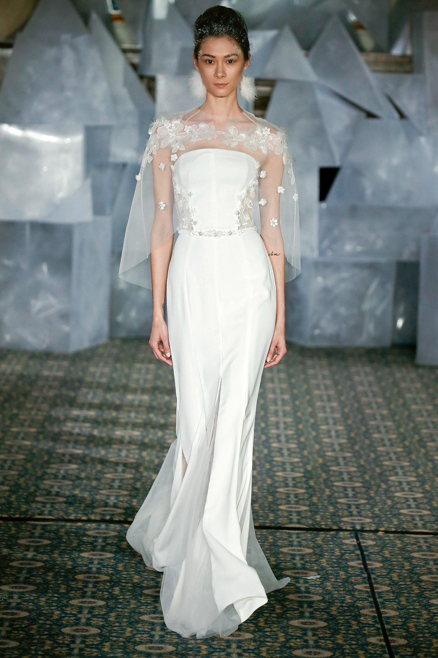 mira zwillinger wedding dress spring 2019 strapless belted applique cape