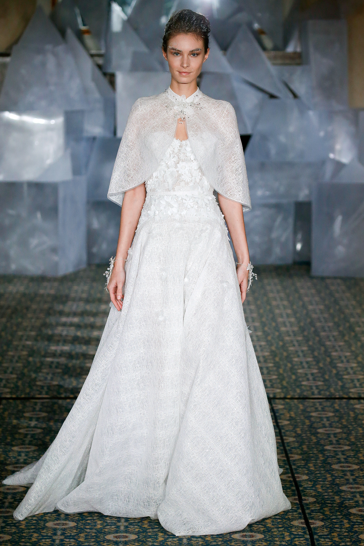 mira zwillinger wedding dress spring 2019 applique a-line cape