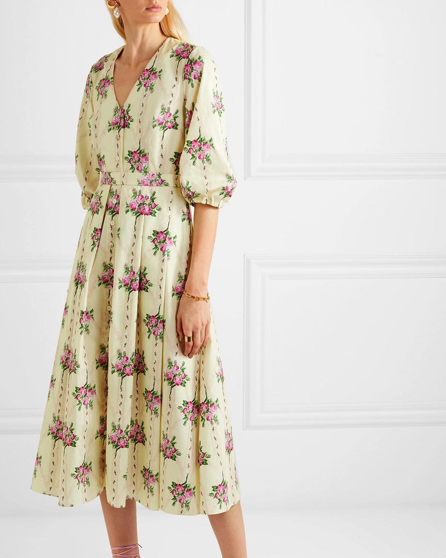pleated floral-print cotton midi printed mob dress