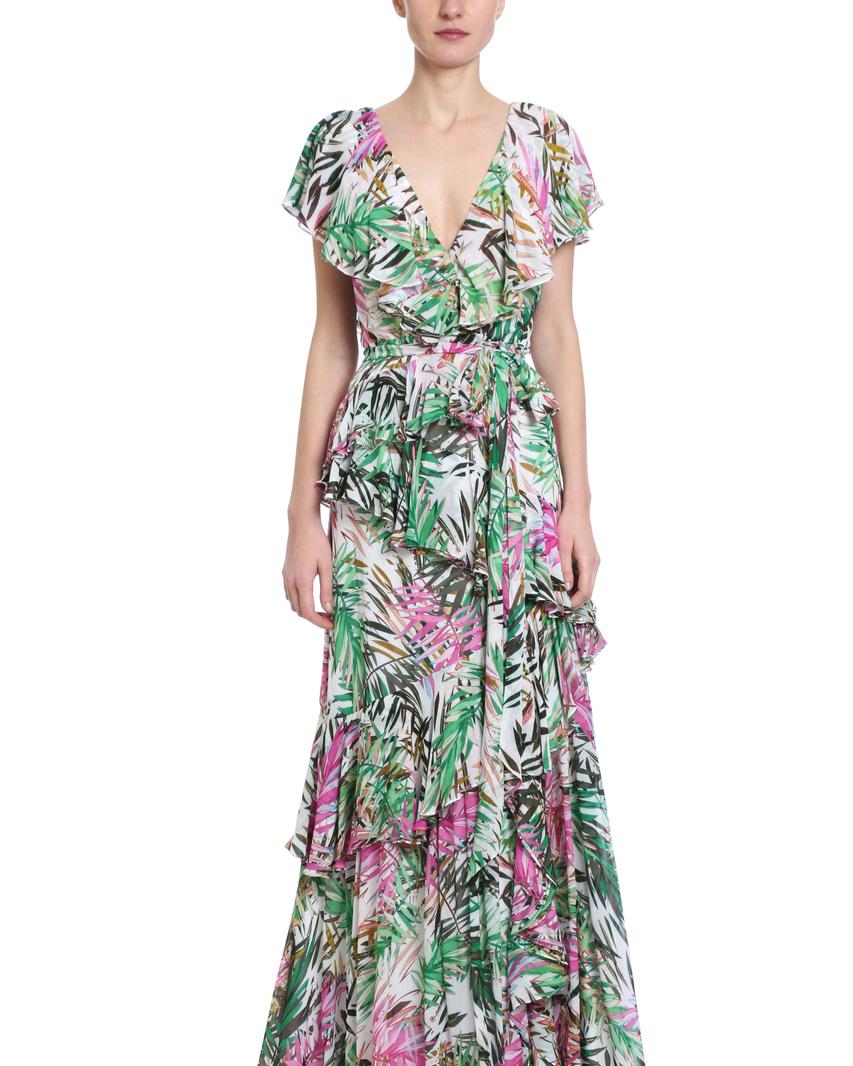 ruffled wrap palm-printed mob dress