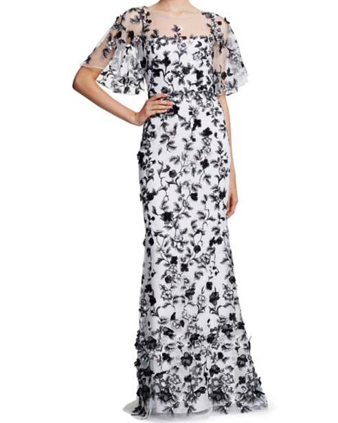 black and white maxi printed mob dress