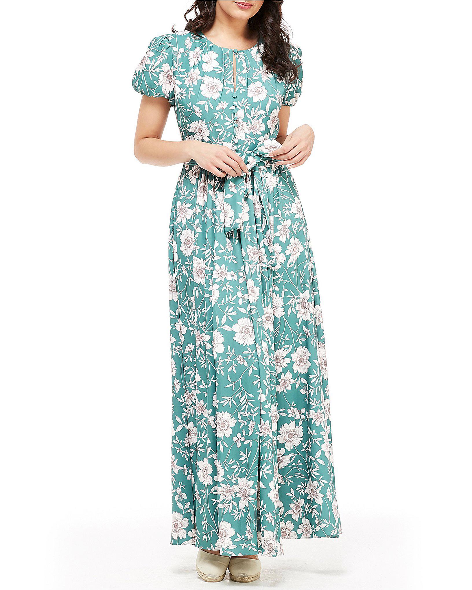 green floral maxi printed mob dress