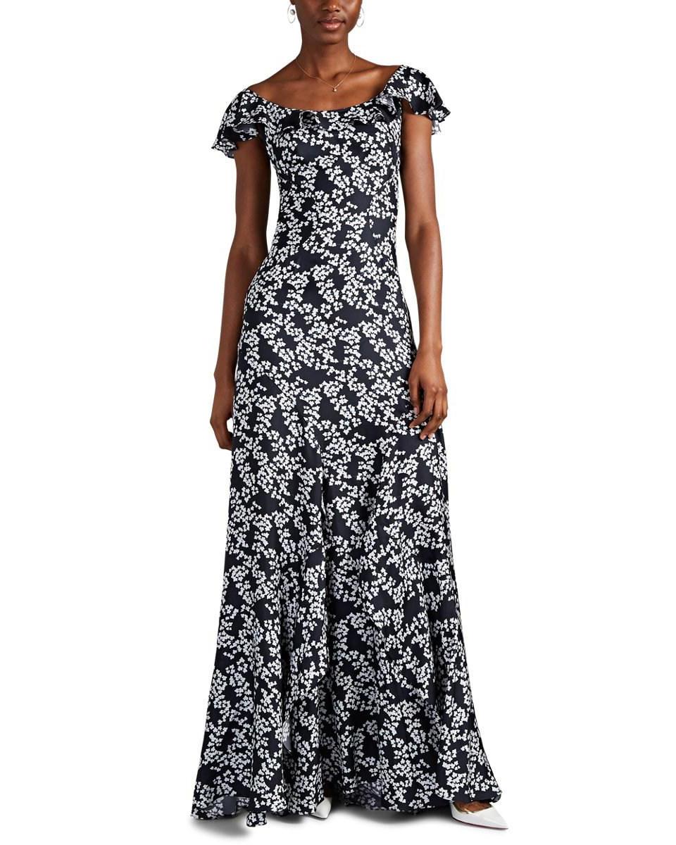 floral silk twill printed mob dress