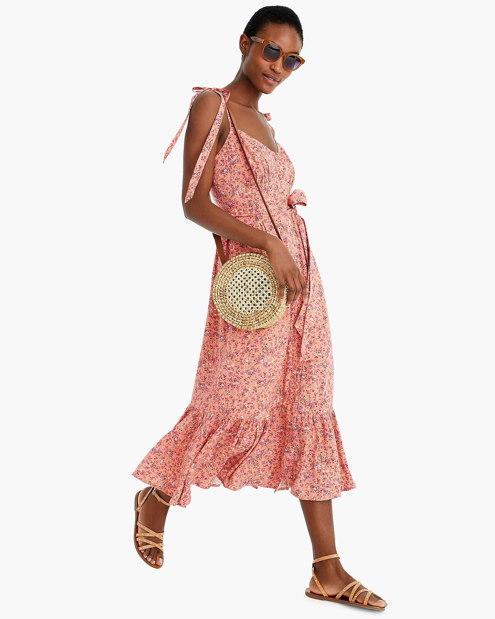 coral floral printed mob dress with tie straps