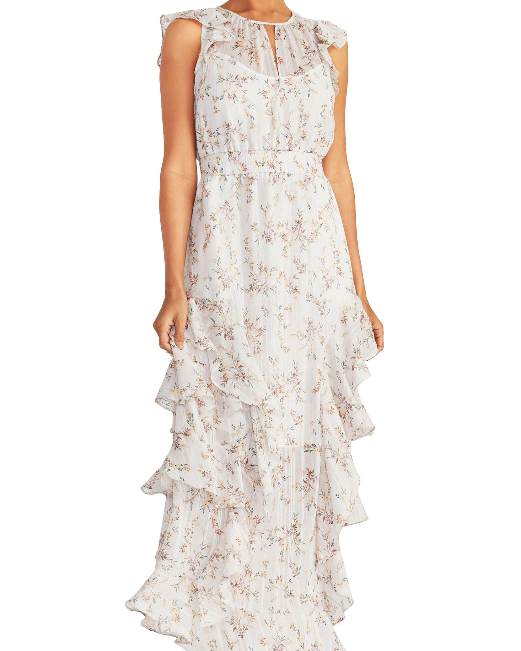 white tiered maxi printed mob dress