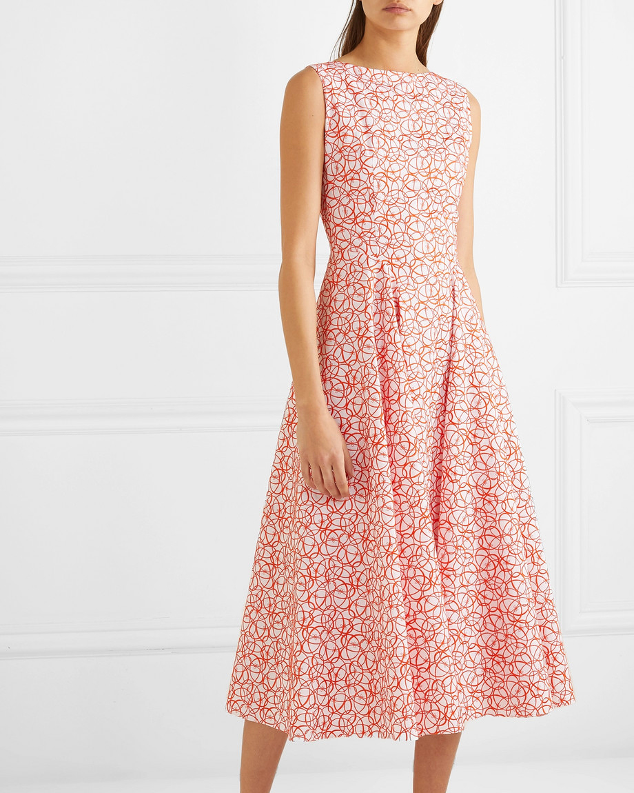 embroidered cotton poplin printed mob dress