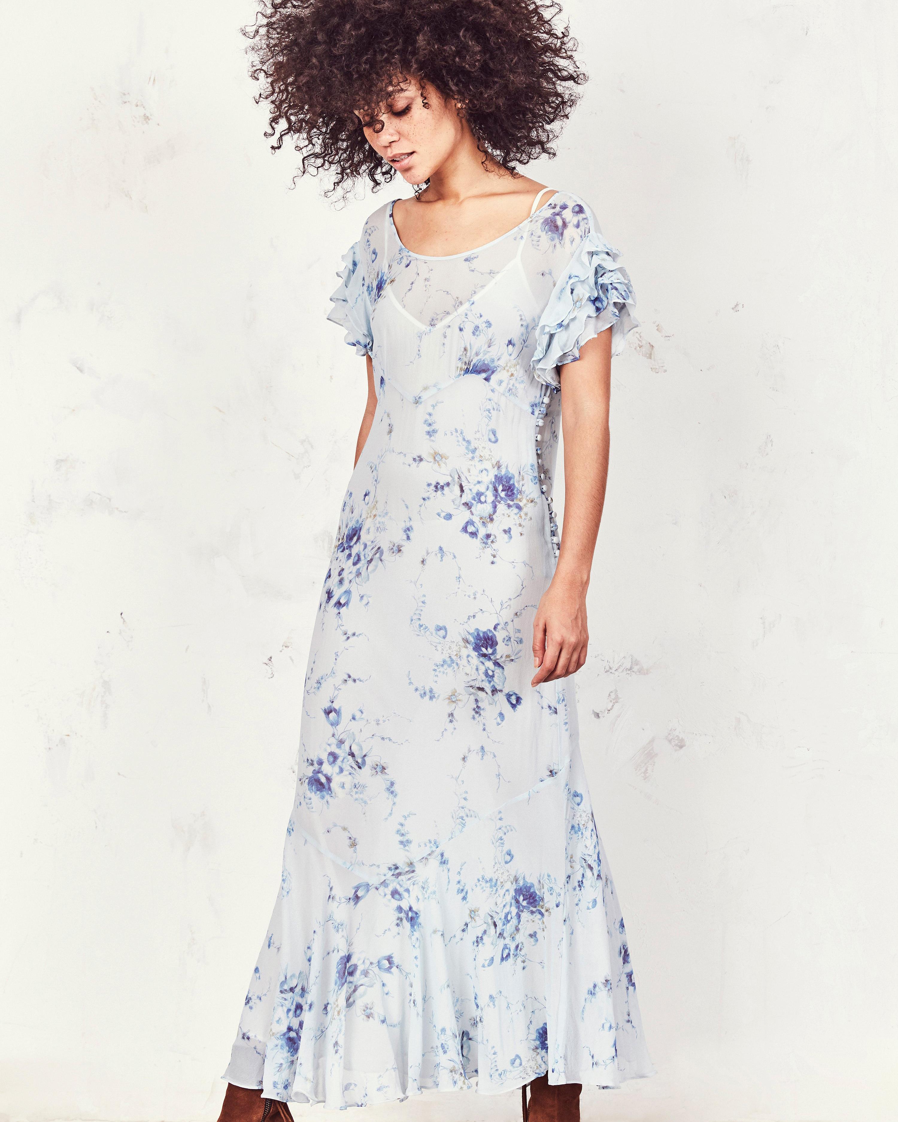 blue floral printed mob dress