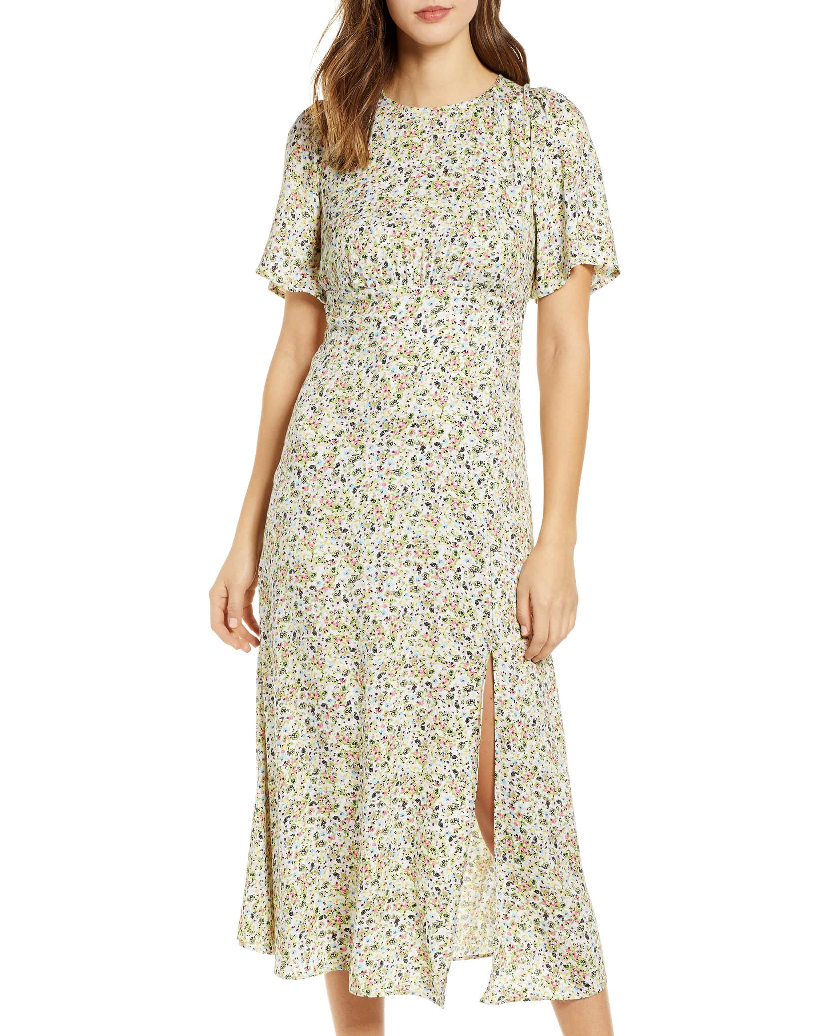 midi short sleeved printed mob dress