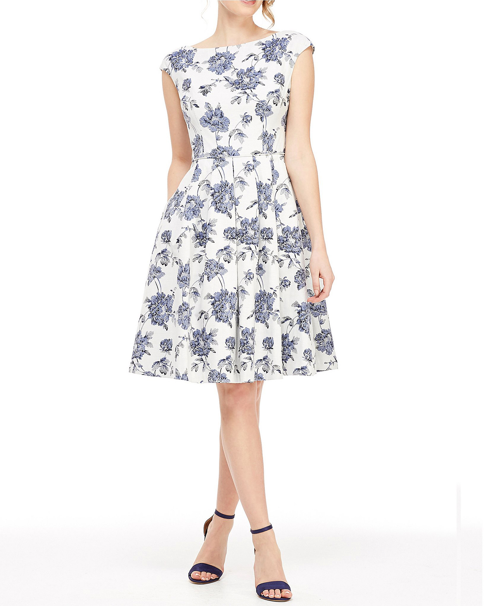 floral fit-and-flare printed mob dress