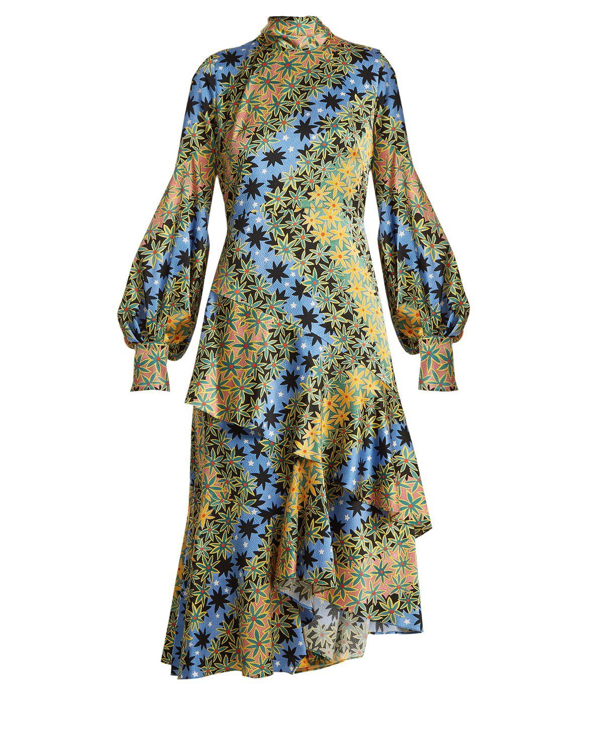 long sleeve high neck printed dress