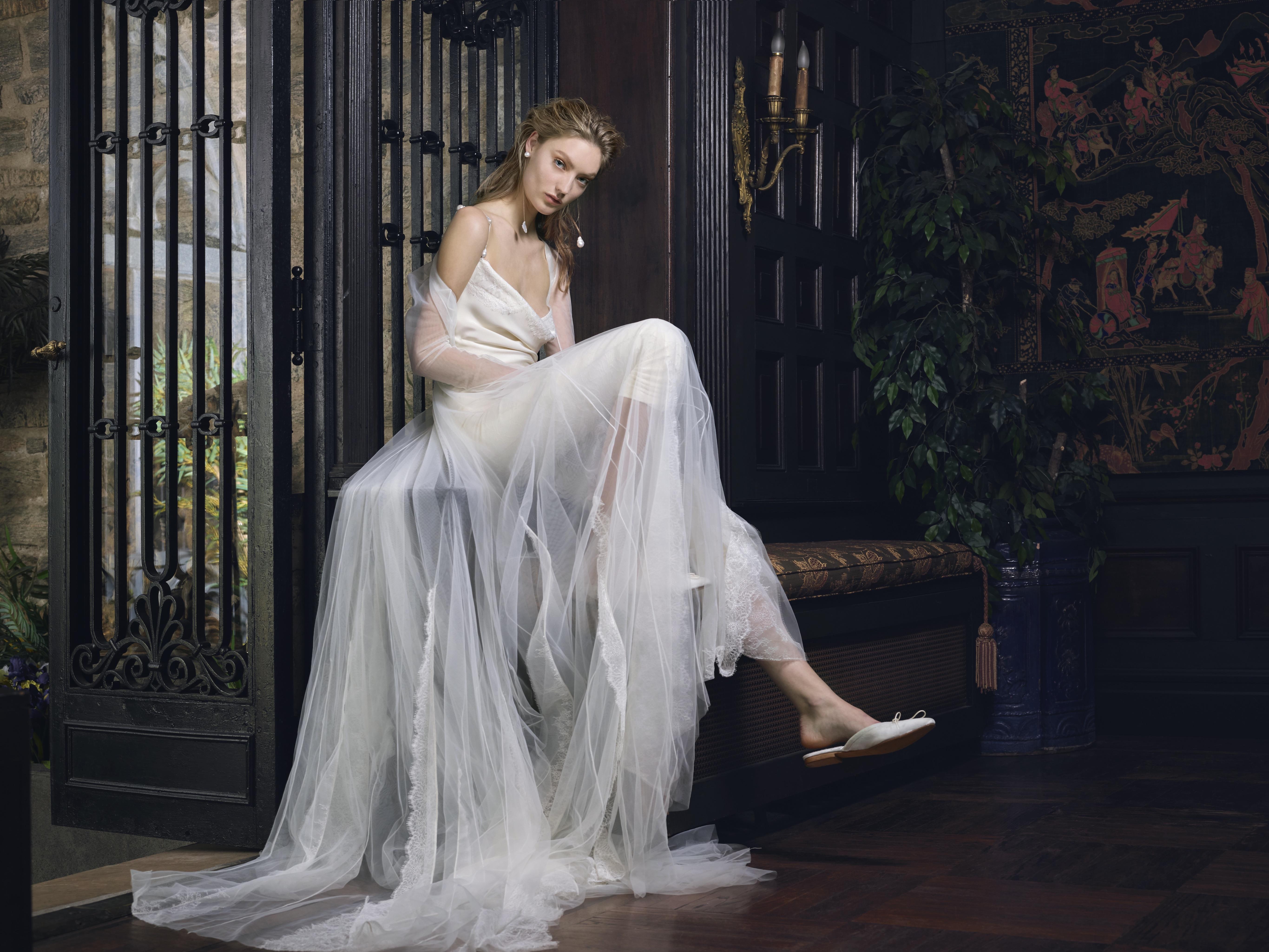 danielle frankel wedding dress spring 2019 beaded spaghetti straps draped front