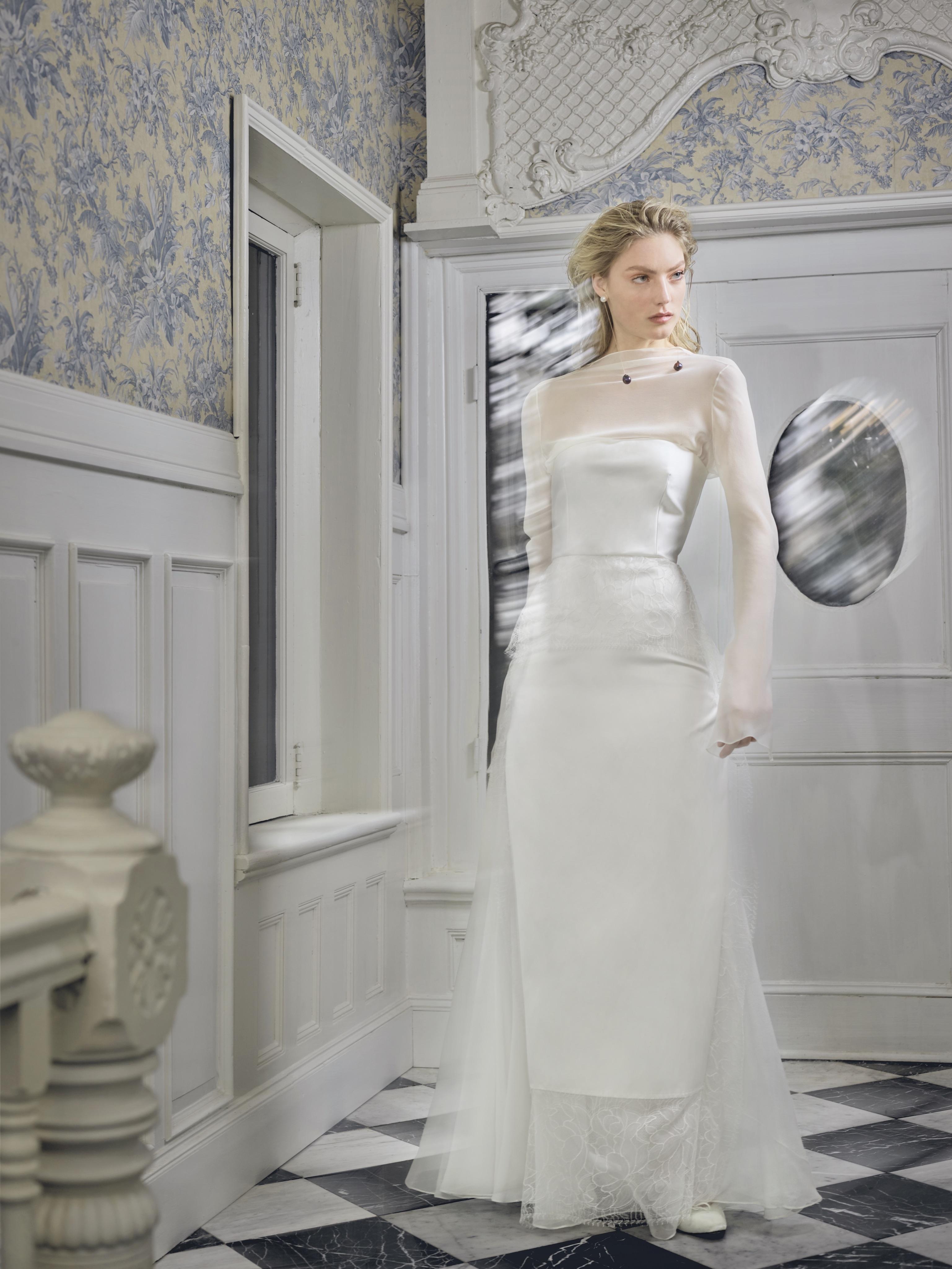 danielle frankel wedding dress spring 2019 high illusion neck long sleeves