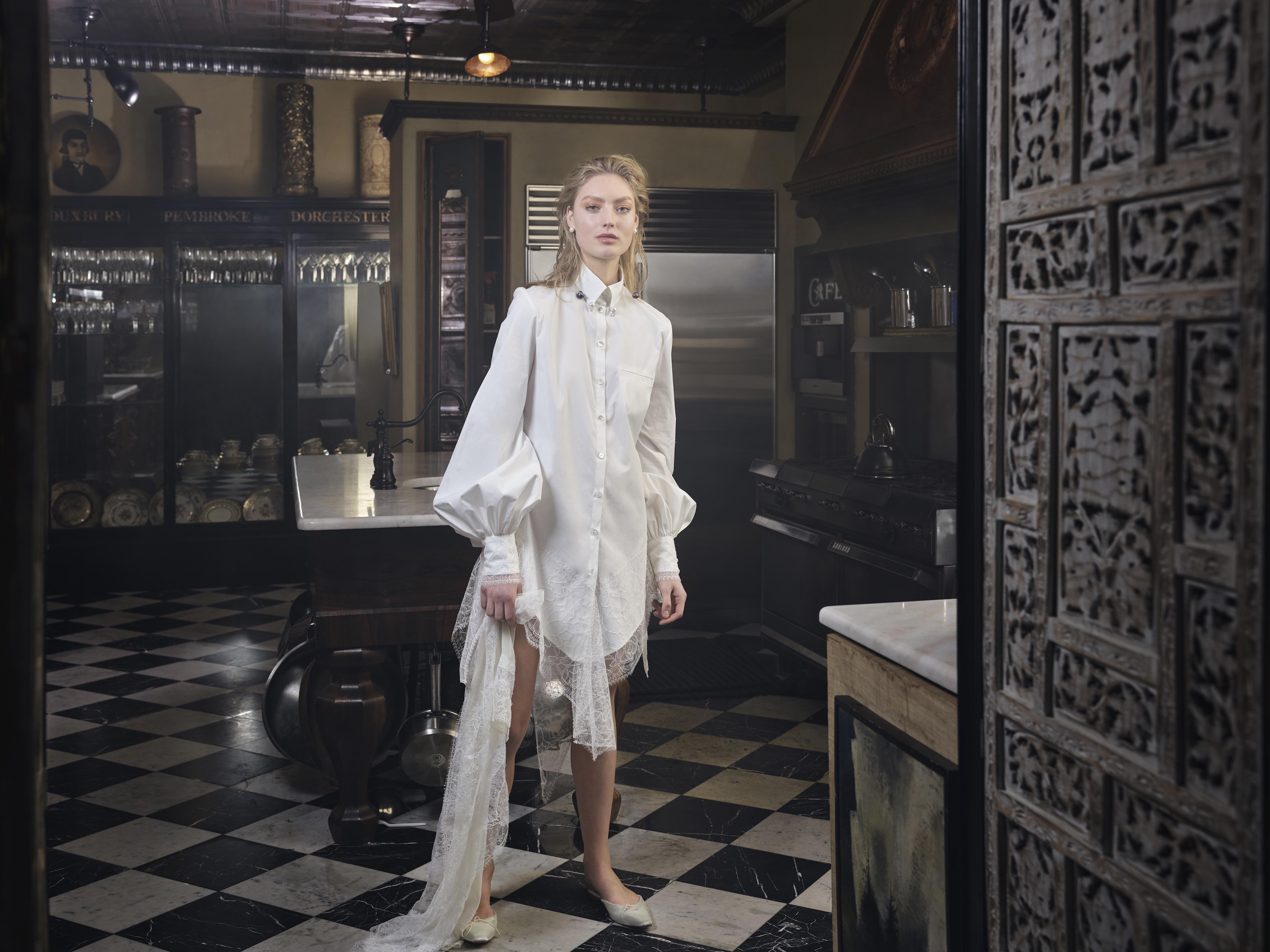 danielle frankel wedding dress spring 2019 collared shirtdress lace hem
