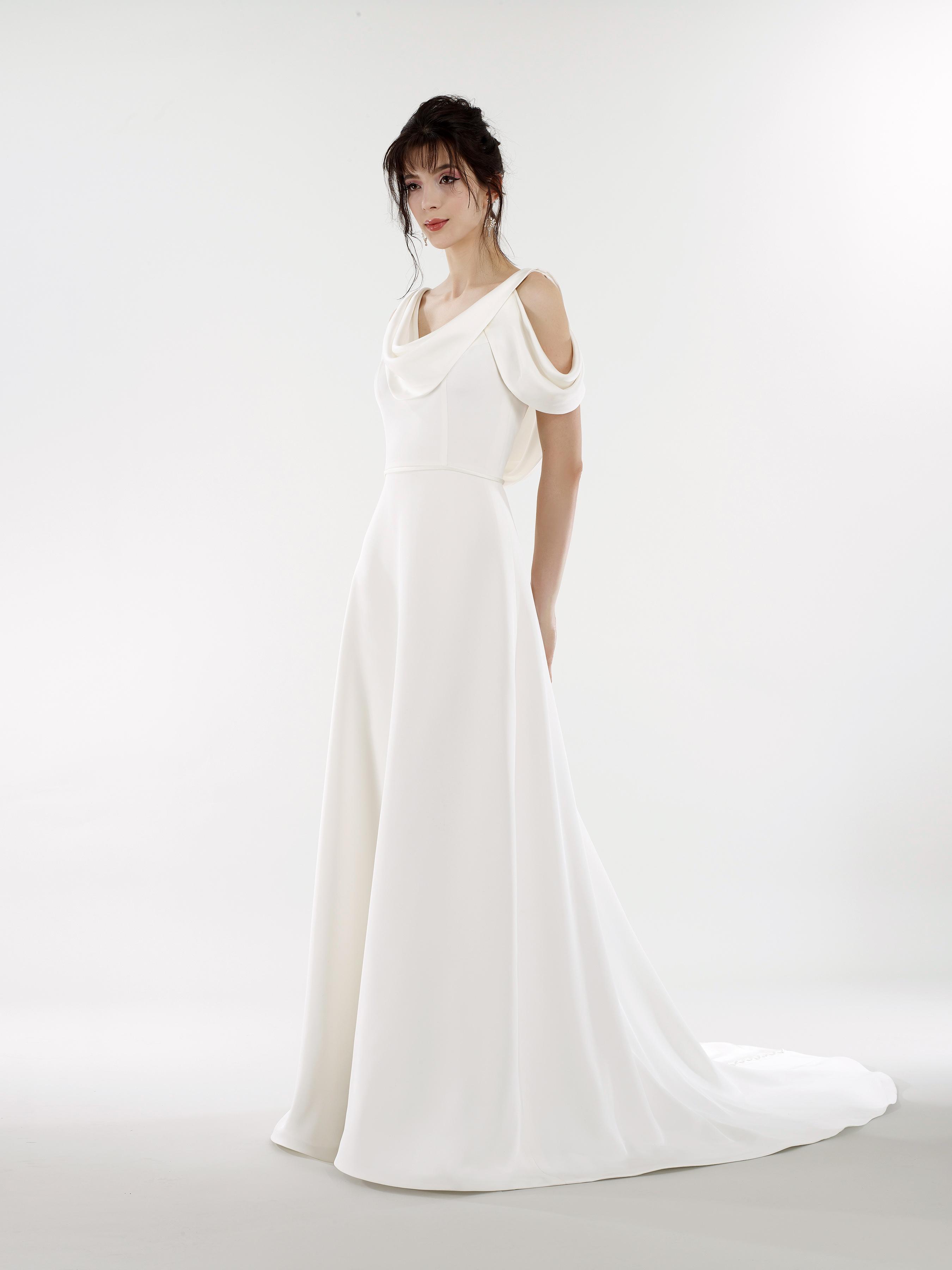 steven birnbaum bridal wedding dress spring 2019 cold shoulder drape cutout a-line