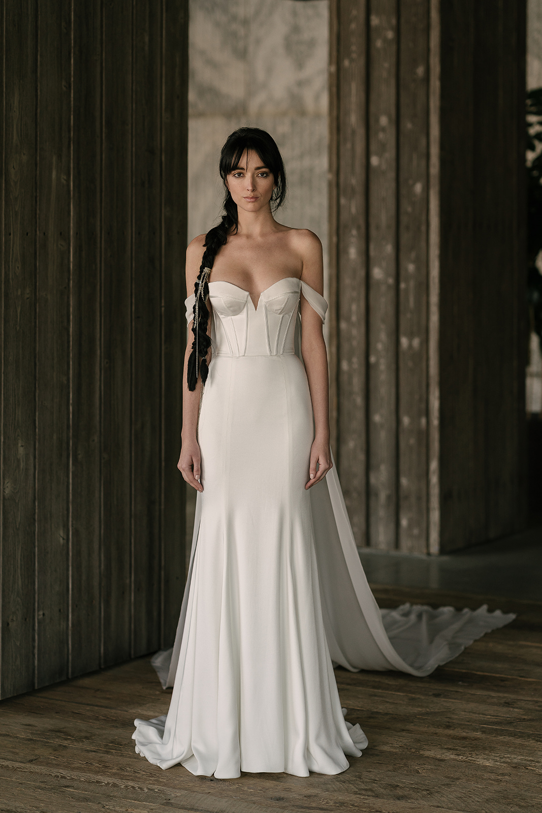 rivini by rita vinieris spring 2019 sheath wedding dress with off-the-shoulder neckline