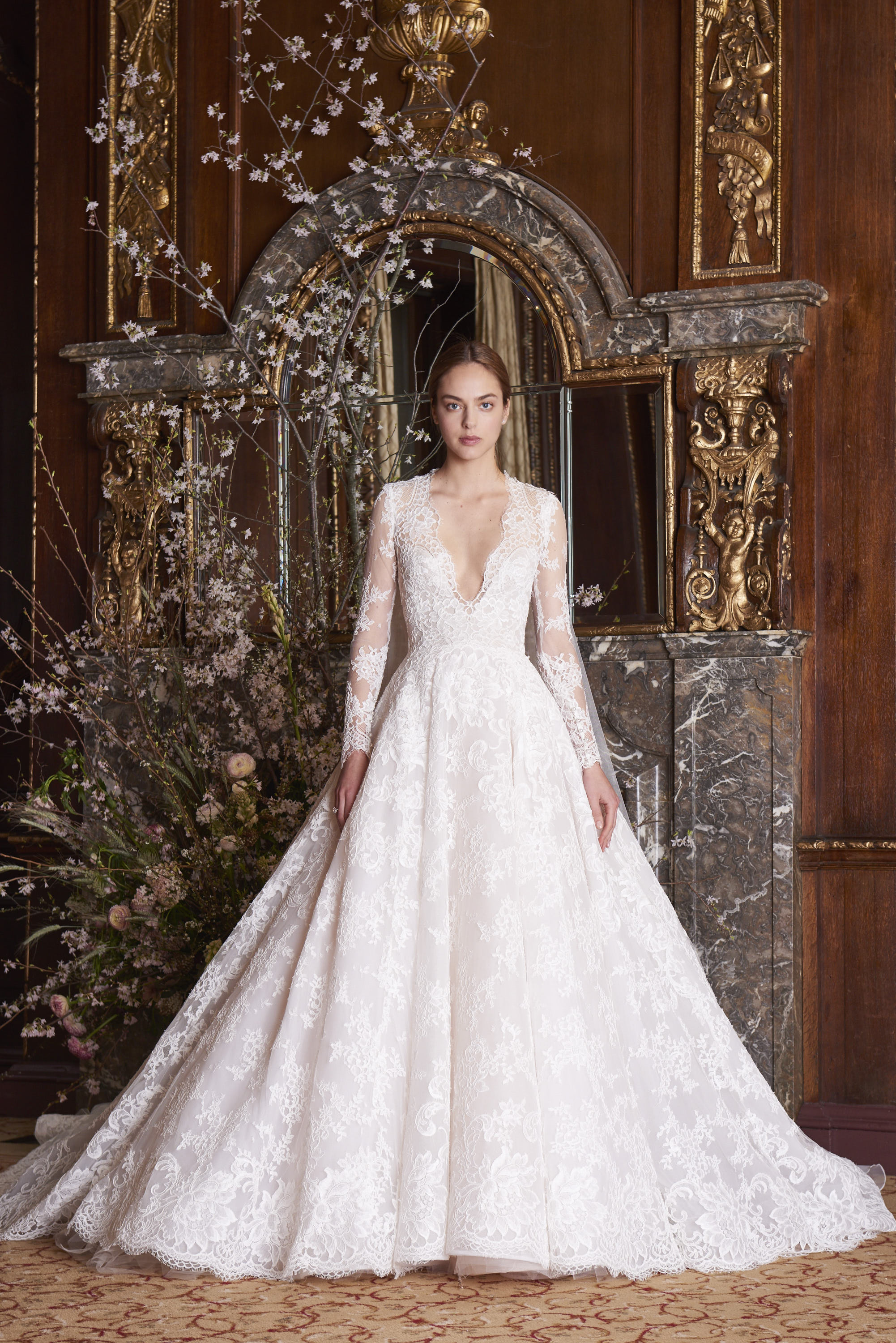 monique lhuillier wedding dress spring 2019 v-neck long sleeve