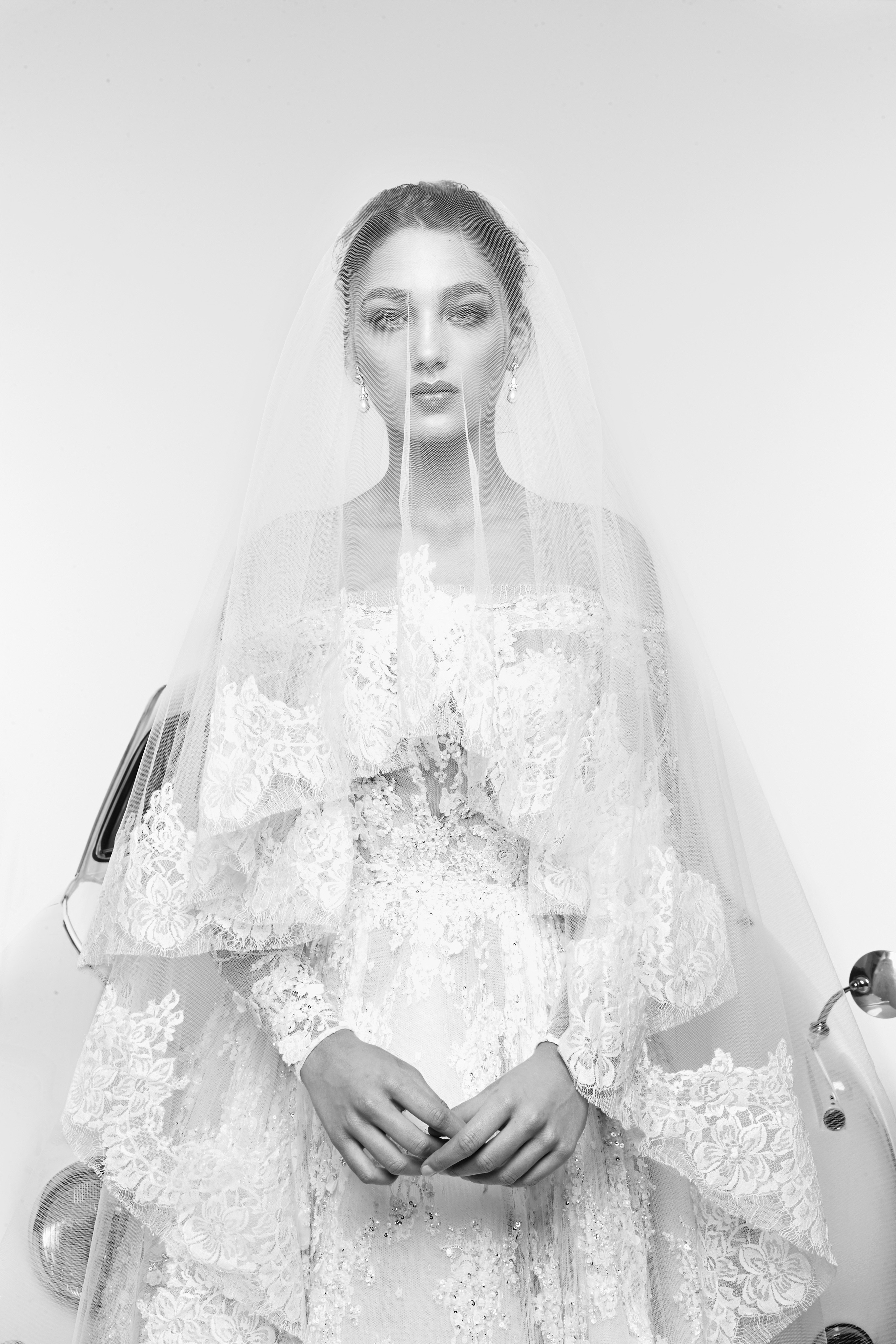 zuhair murad wedding dress spring 2019 layered off-the-shoulder with veil