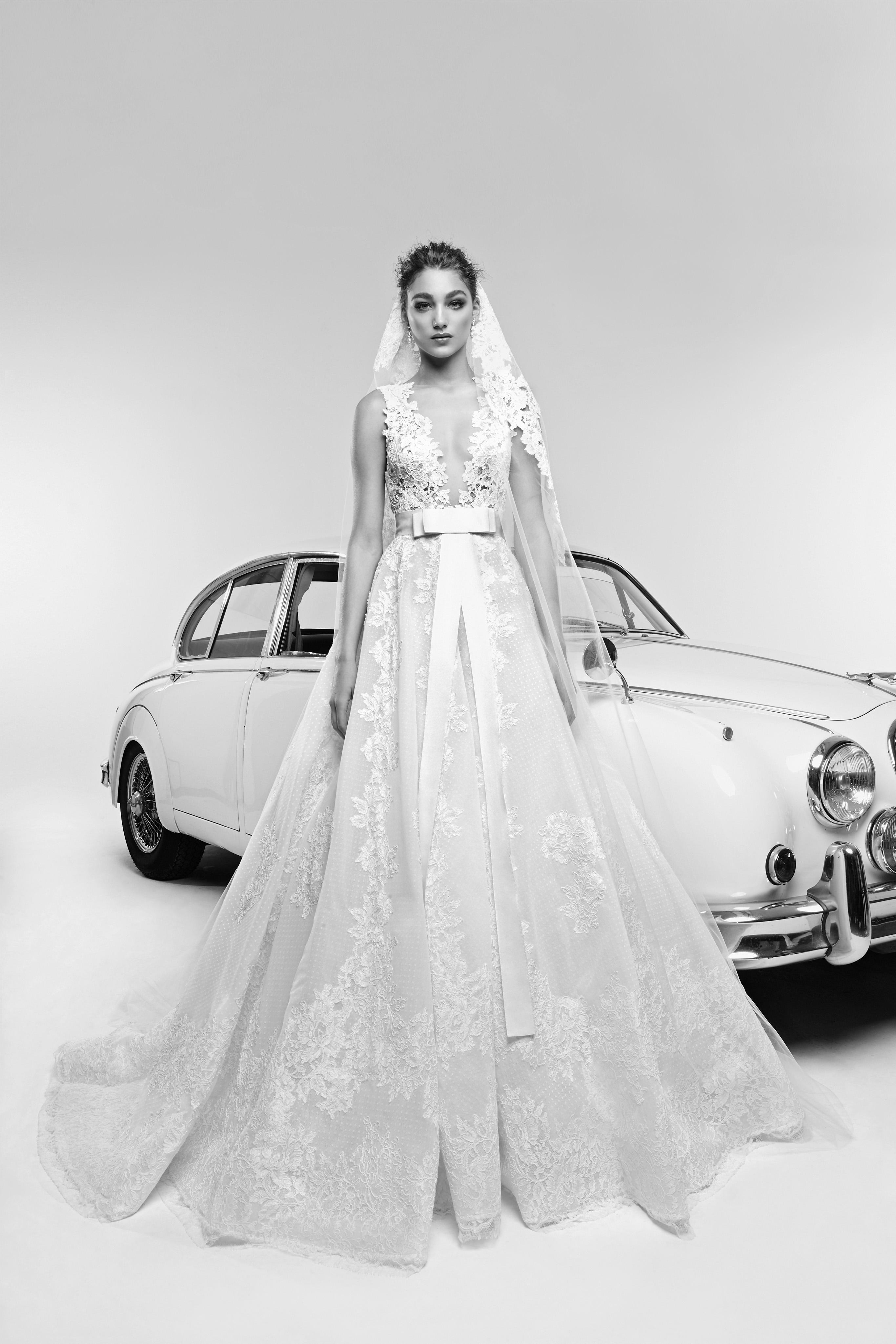 zuhair murad wedding dress spring 2019 v-neck a-line